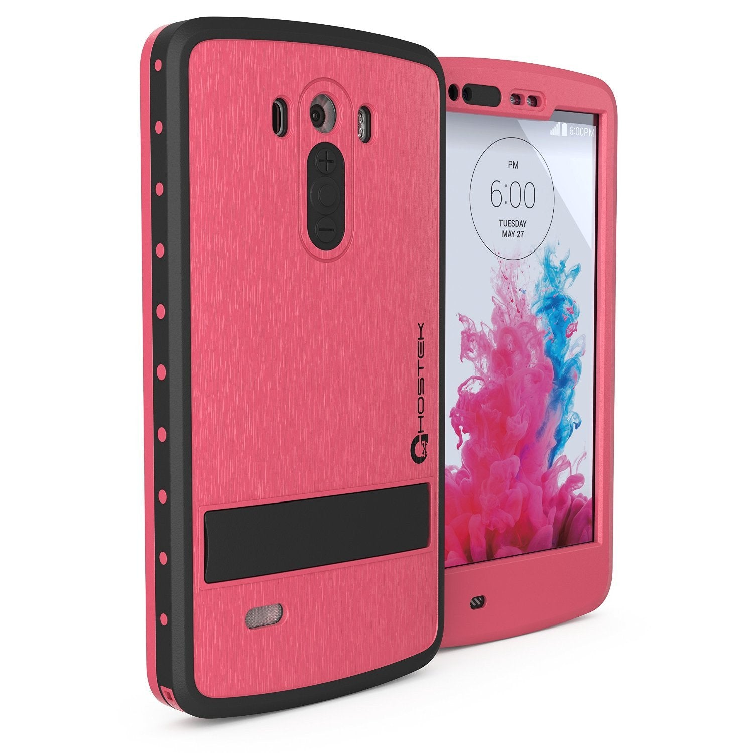 LG G3 Waterproof Case, Ghostek Atomic Pink W/ Attached Screen Protector Slim Fitted  LG G3