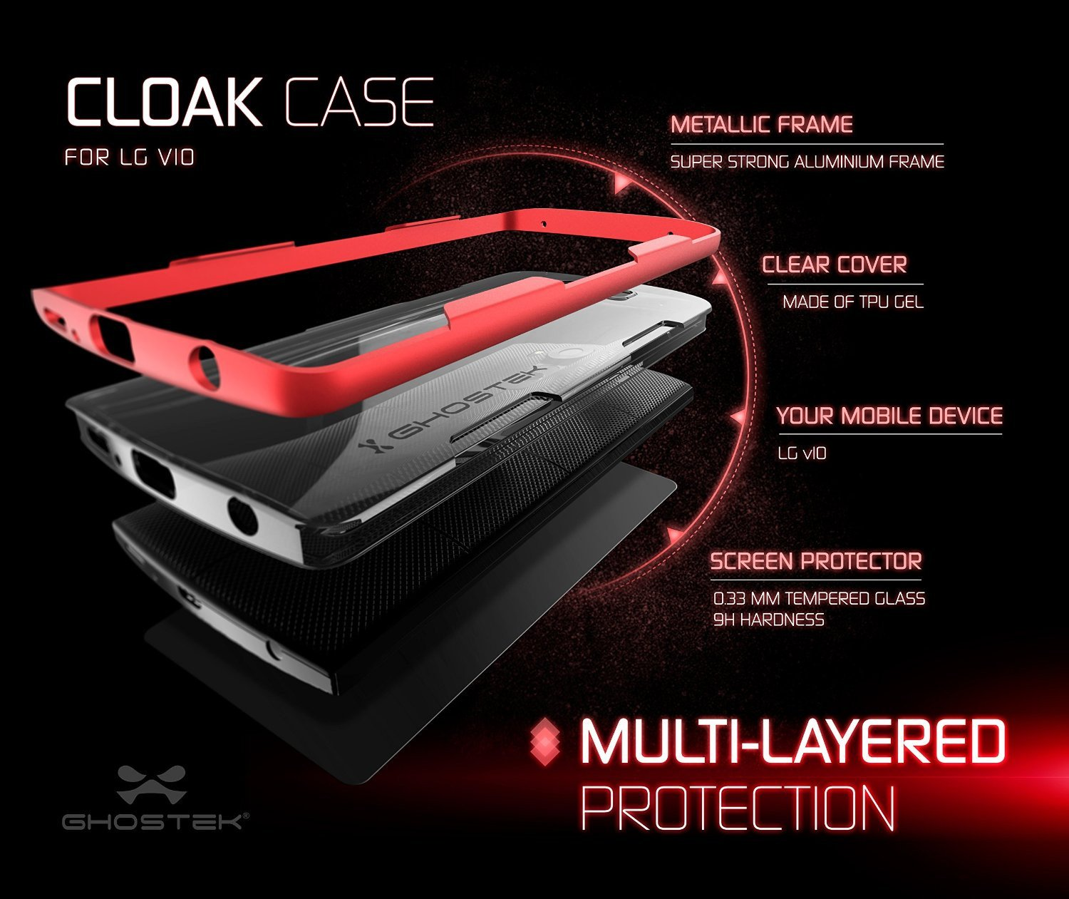 LG V10 Case, Ghostek® Cloak Red Slim Hybrid Impact Armor Cover | Lifetime Warranty Exchange - PunkCase NZ