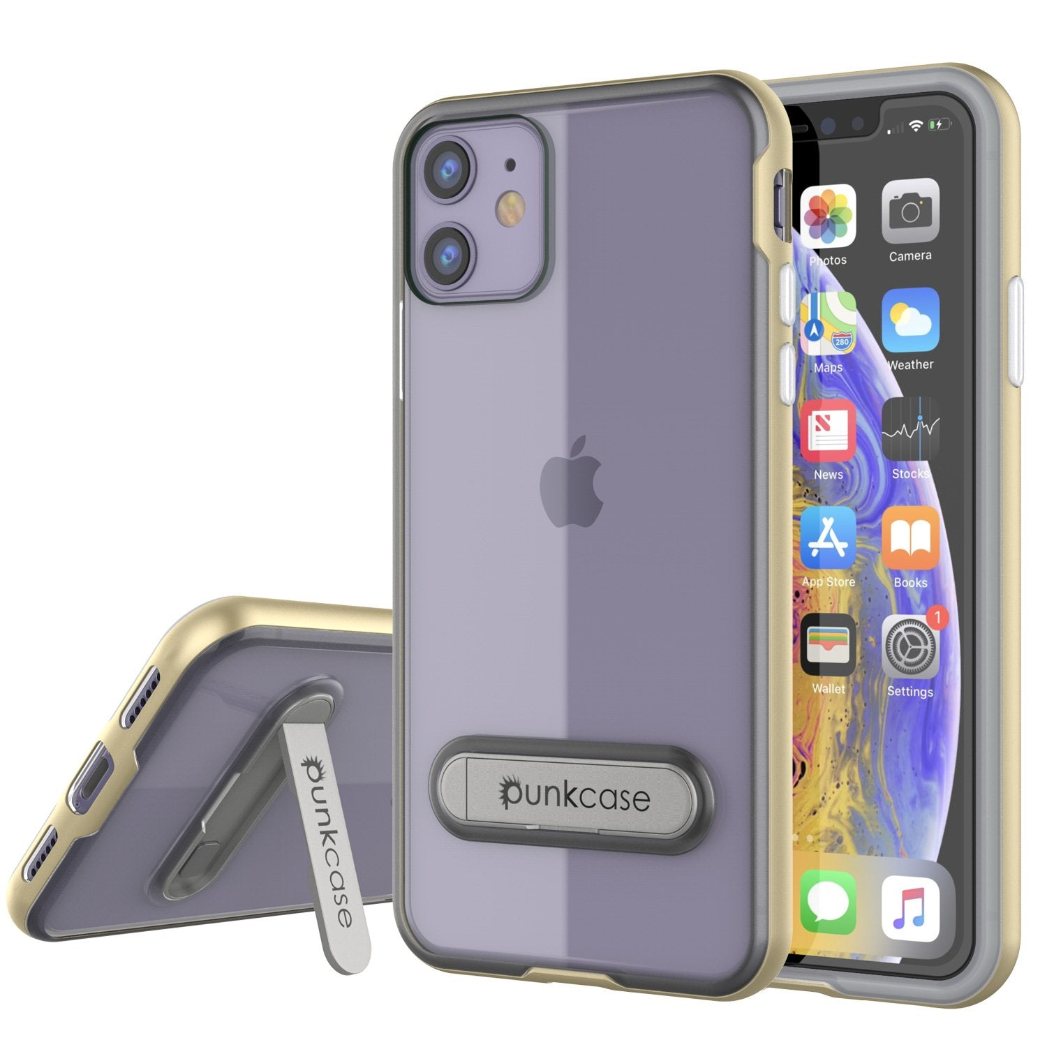 iPhone 12 Case, PUNKcase [LUCID 3.0 Series] [Slim Fit] Protective Cover w/ Integrated Screen Protector [Gold]