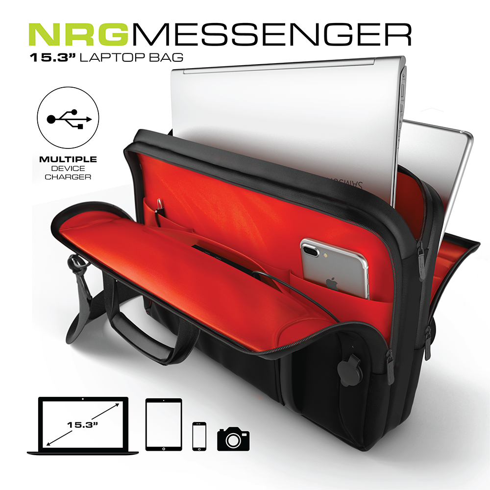 Ghostek NRGmessenger Series 8.5L || Computer Laptop Messenger Bag + 16,000mAh Battery Power Bank with 2 USB Ports | Water Resistant - PunkCase NZ