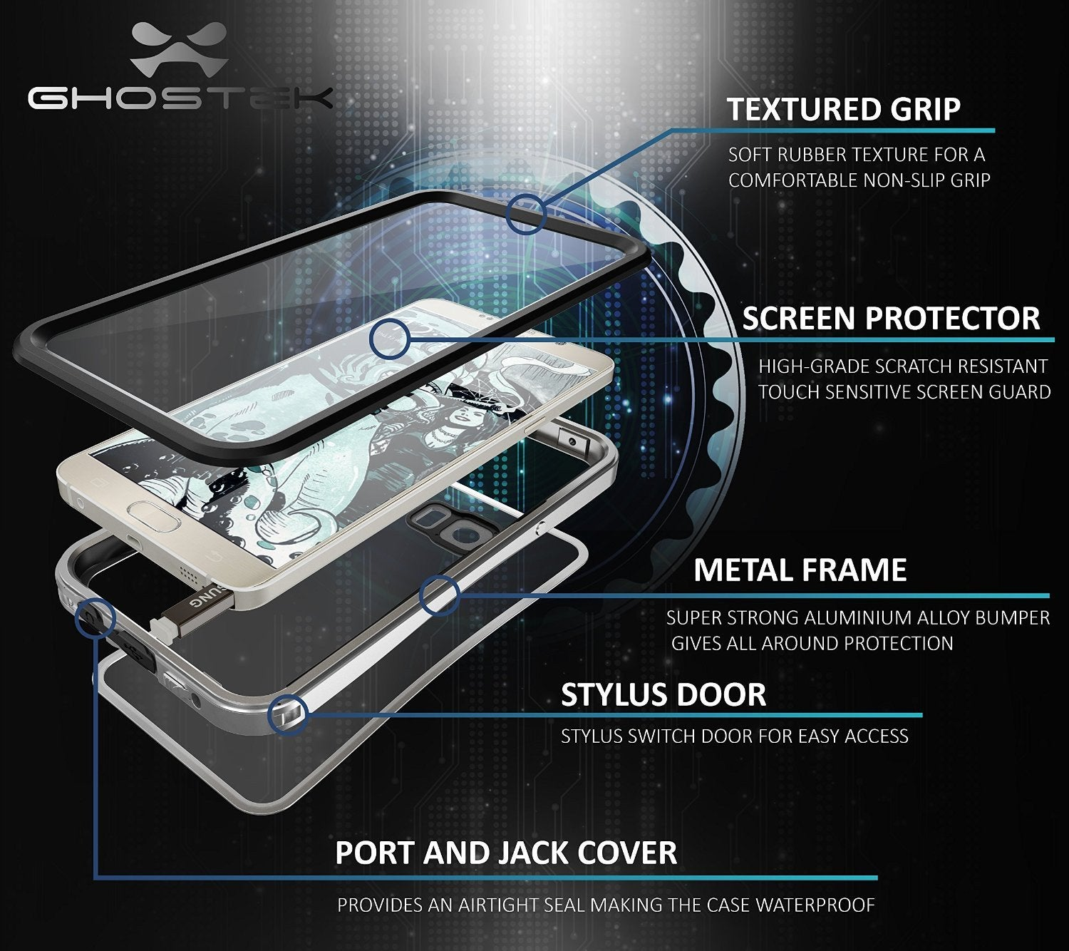 Note 5 Waterproof Case, Ghostek® Atomic 2.0 Series Silver for Samsung Galaxy Note 5 | Aluminum Frame - PunkCase NZ
