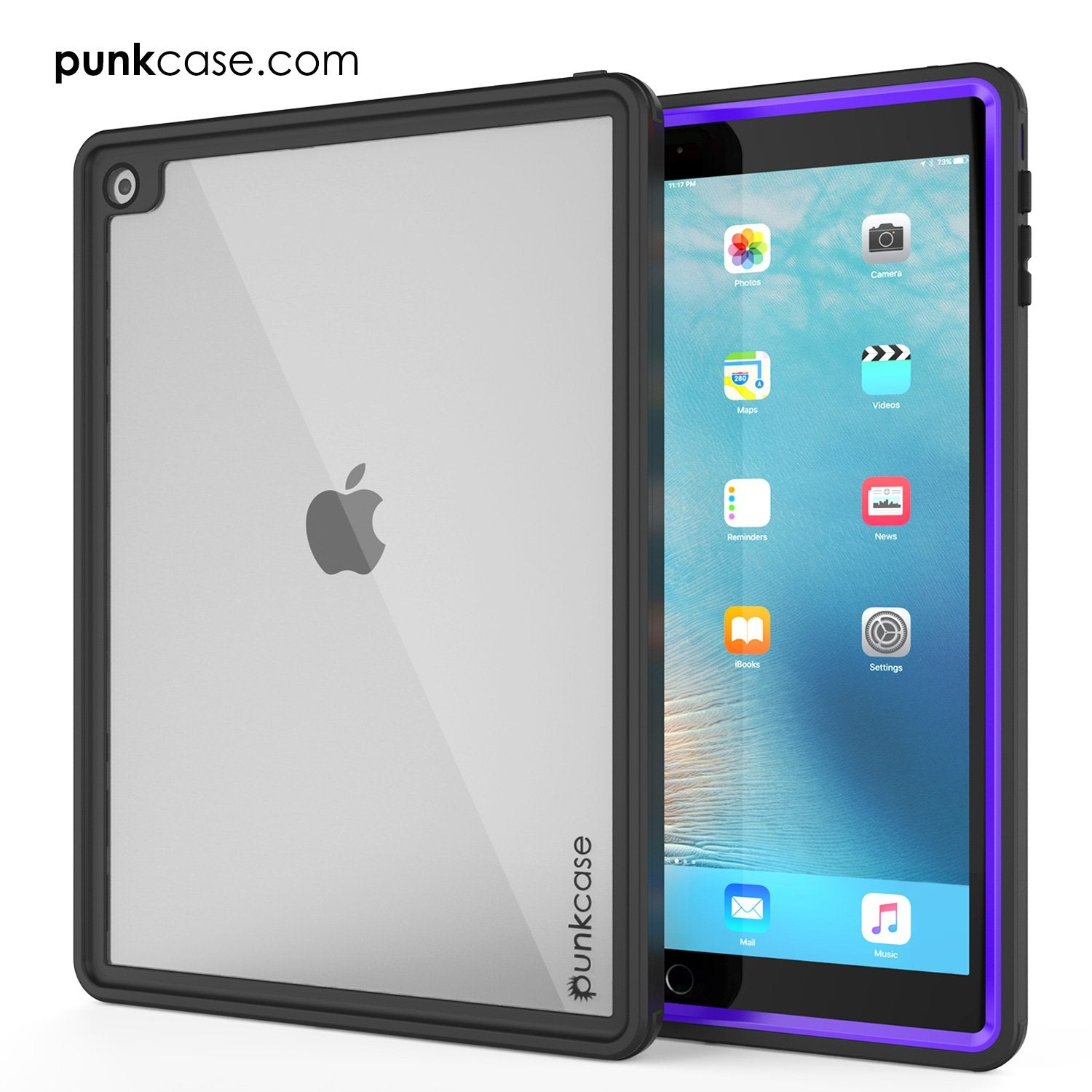 Punkcase iPad Pro 9.7 Case [CRYSTAL Series], Waterproof, Ultra-Thin Cover [Shockproof] [Dustproof] with Built-in Screen Protector [Purple]