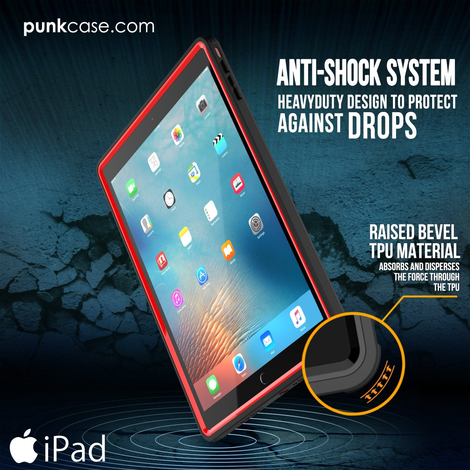 Punkcase iPad Pro 9.7 Case [CRYSTAL Series], Waterproof, Ultra-Thin Cover [Shockproof] [Dustproof] with Built-in Screen Protector [Red] - PunkCase NZ