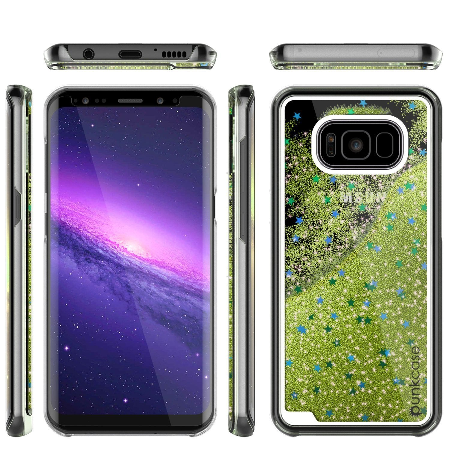S8 Plus Case, Punkcase [Liquid Series] Protective Dual Layer Floating Glitter Cover with lots of Bling & Sparkle + PunkShield Screen Protector for Samsungs Galaxy S8+ (Light Green] - PunkCase NZ