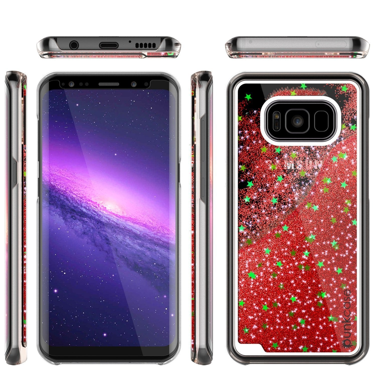 S8 Plus Case, Punkcase [Liquid Series] Protective Dual Layer Floating Glitter Cover with lots of Bling & Sparkle + PunkShield Screen Protector for Samsungs Galaxy S8+ [Red] - PunkCase NZ