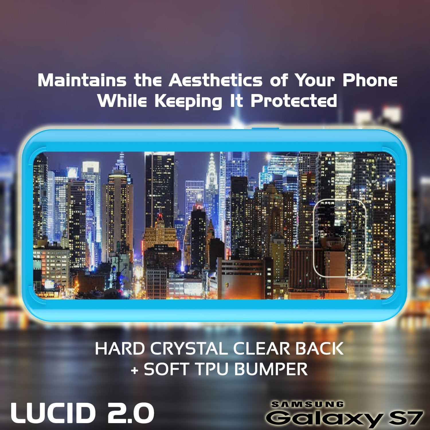 S7 Case Punkcase® LUCID 2.0 Light Blue Series w/ PUNK SHIELD Glass Screen Protector | Ultra Fit - PunkCase NZ