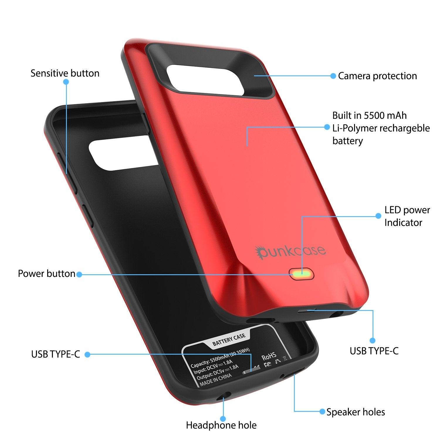 Galaxy S8 PLUS Battery Case, Punkcase 5500mAH Charger Case W/ Screen Protector | Integrated Kickstand & USB Port | IntelSwitch [Red] - PunkCase NZ