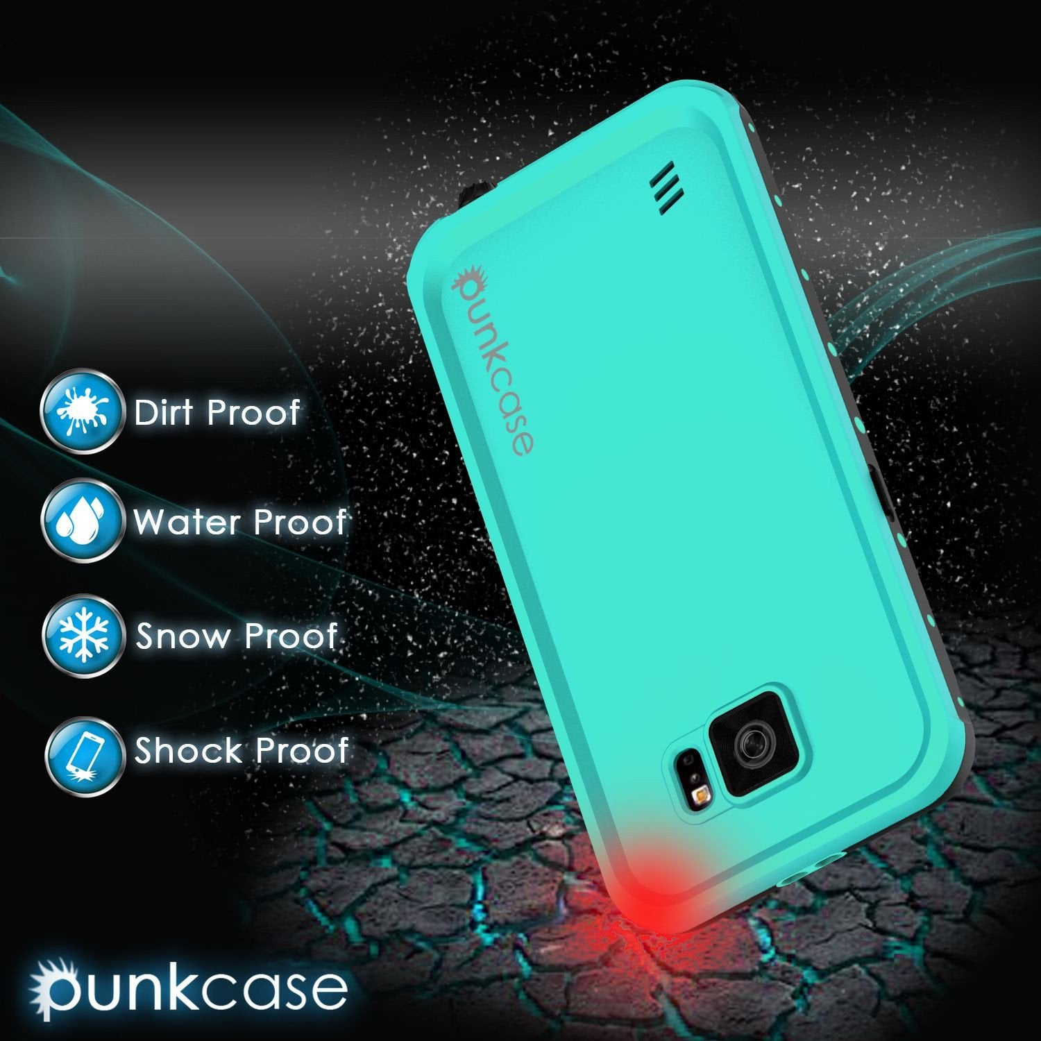 Galaxy S6 Waterproof Case PunkCase StudStar Teal Thin 6.6ft Underwater IP68 Shock/Dirt/Snow Proof - PunkCase NZ