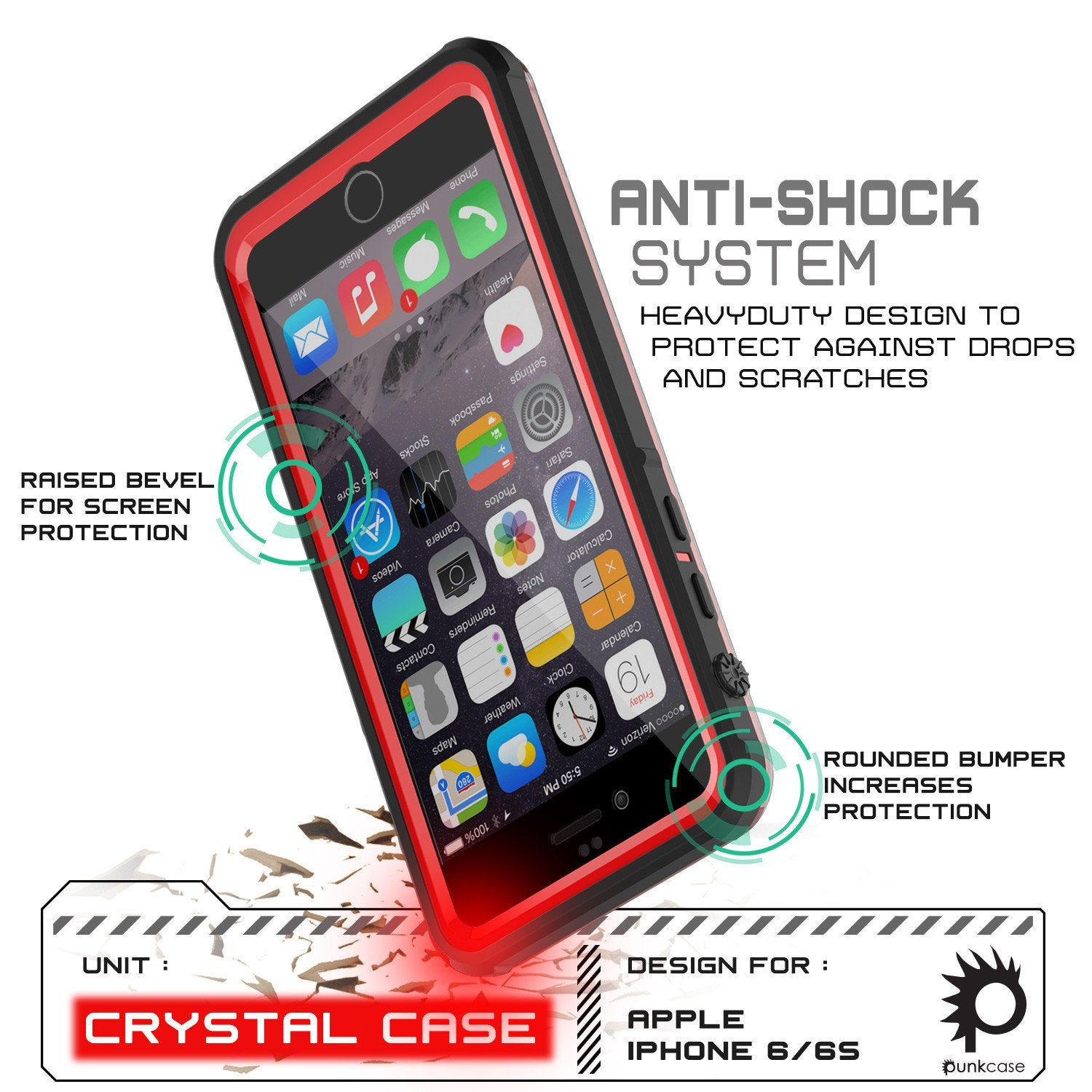 iPhone 6+/6S+ Plus Waterproof Case, PUNKcase CRYSTAL Red W/ Attached Screen Protector | Warranty - PunkCase NZ