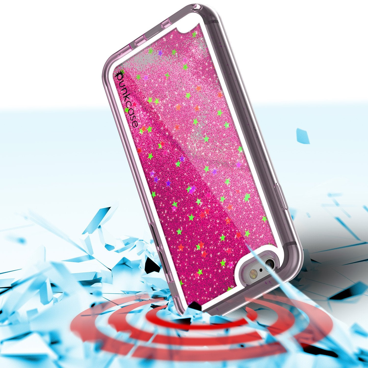 iPhone 7 Case, PunkCase LIQUID Pink Series, Protective Dual Layer Floating Glitter Cover - PunkCase NZ