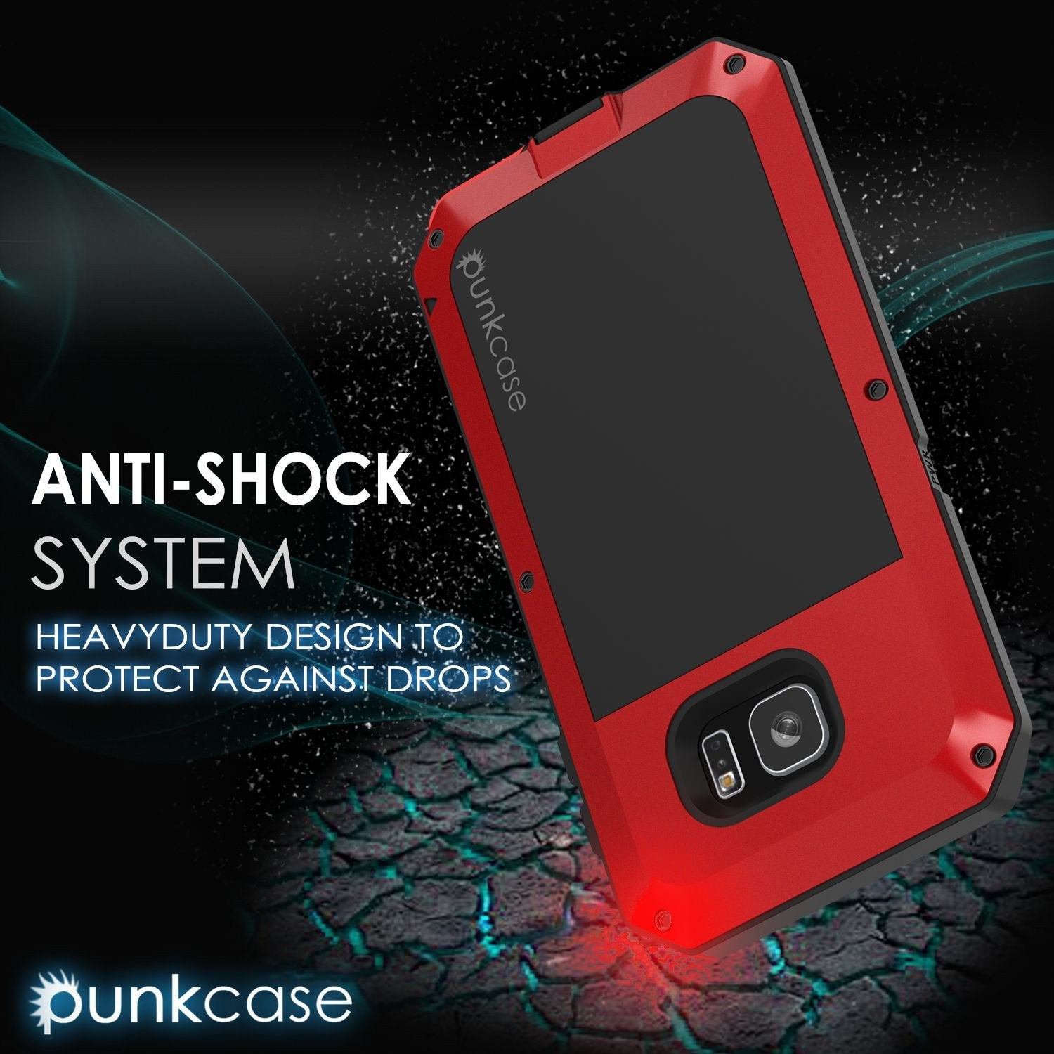 Galaxy S7 EDGE  Case, PUNKcase Metallic Red Shockproof  Slim Metal Armor Case - PunkCase NZ