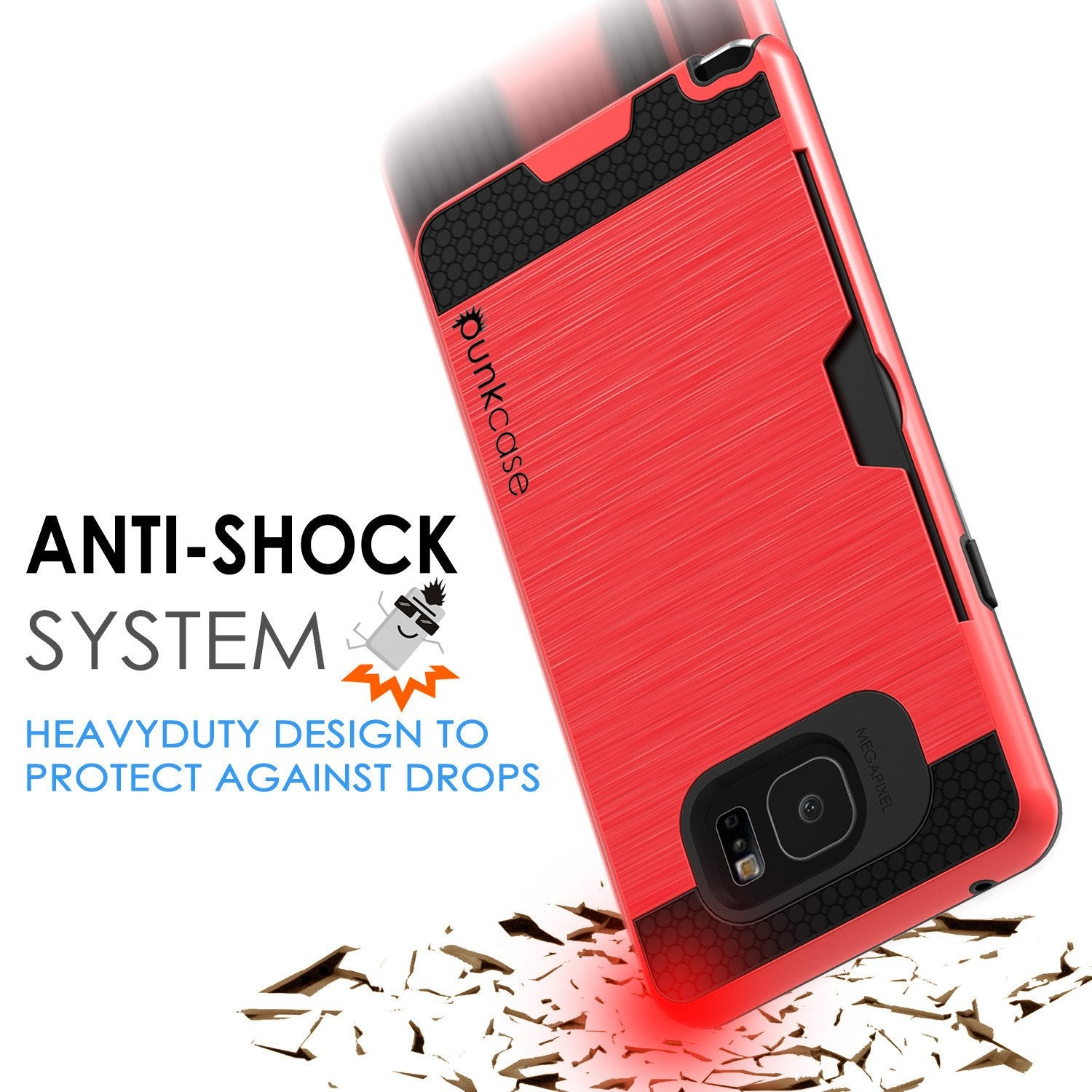 Galaxy Note 5 Case PunkCase SLOT Red Series Slim Armor Soft Cover Case w/ Tempered Glass - PunkCase NZ
