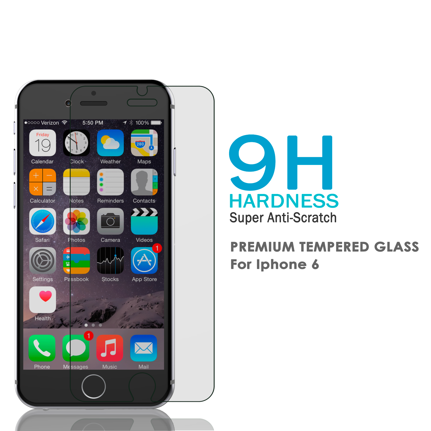 iPhone 6/6s Plus Clear Punkcase Glass SHIELD Tempered Glass Screen Protector 0.33mm Thick 9H Glass - PunkCase NZ