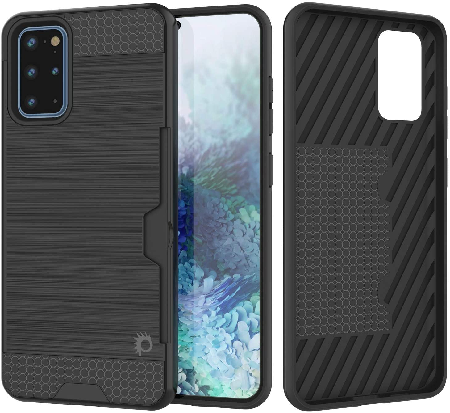 Galaxy S20+ Plus  Case, PUNKcase [SLOT Series] [Slim Fit] Dual-Layer Armor Cover w/Integrated Anti-Shock System, Credit Card Slot [Black]
