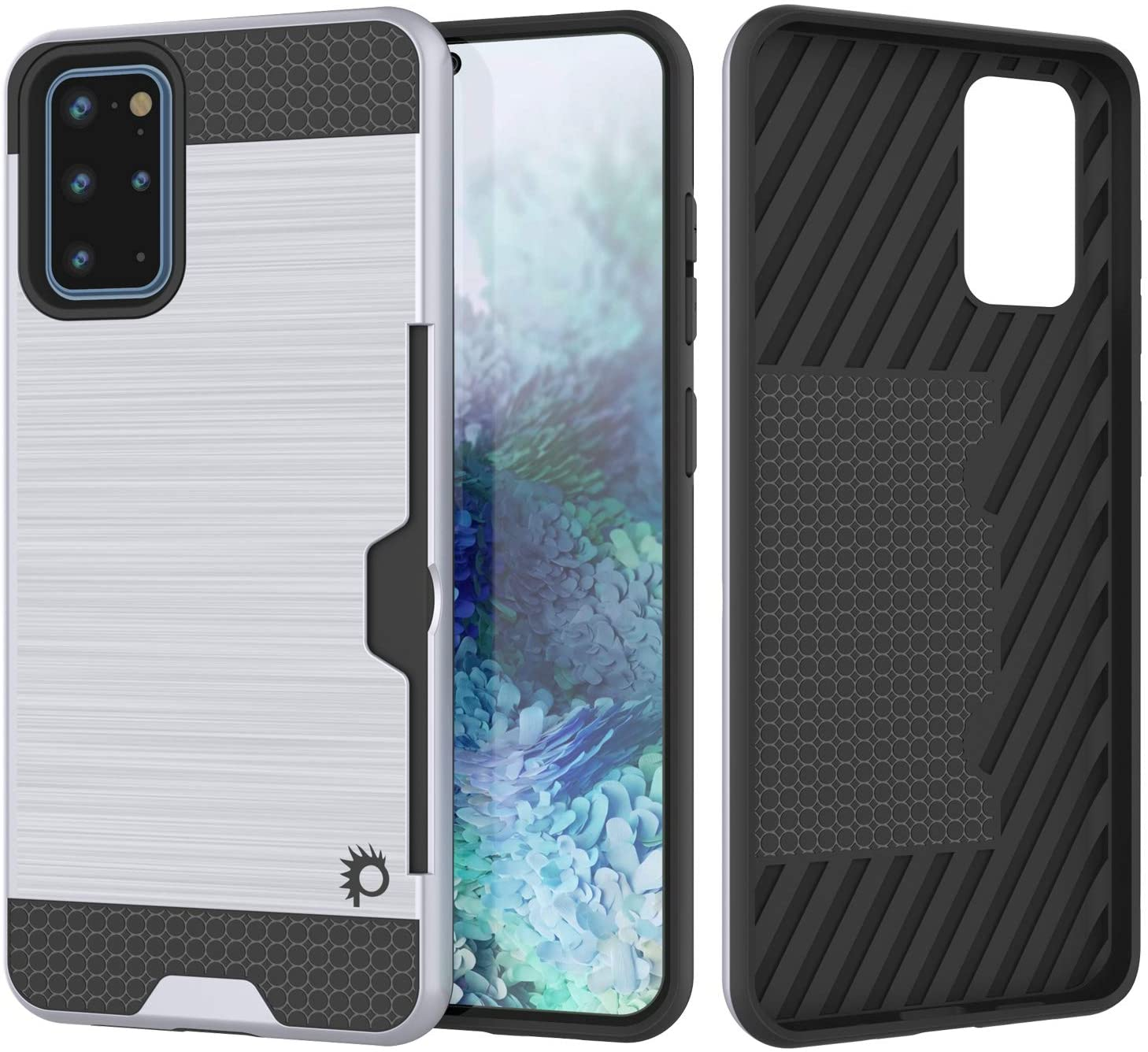 Galaxy S20+ Plus  Case, PUNKcase [SLOT Series] [Slim Fit] Dual-Layer Armor Cover w/Integrated Anti-Shock System, Credit Card Slot [White]