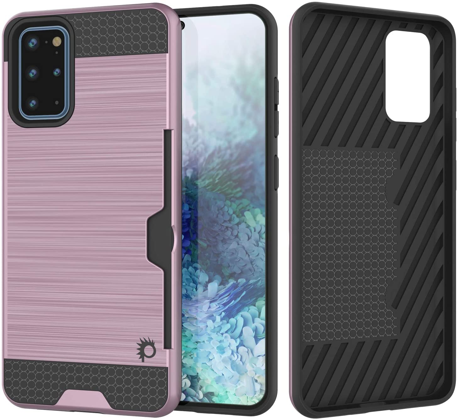 Galaxy S20+ Plus  Case, PUNKcase [SLOT Series] [Slim Fit] Dual-Layer Armor Cover w/Integrated Anti-Shock System, Credit Card Slot [Pink]