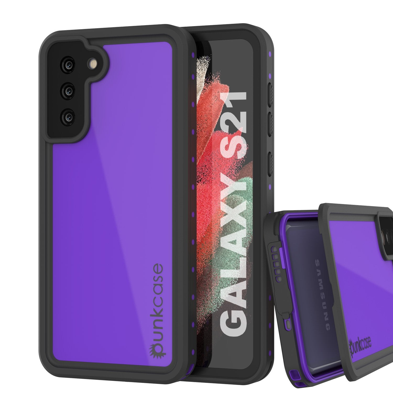 Galaxy S21 Waterproof Case PunkCase StudStar Purple Thin 6.6ft Underwater IP68 Shock/Snow Proof