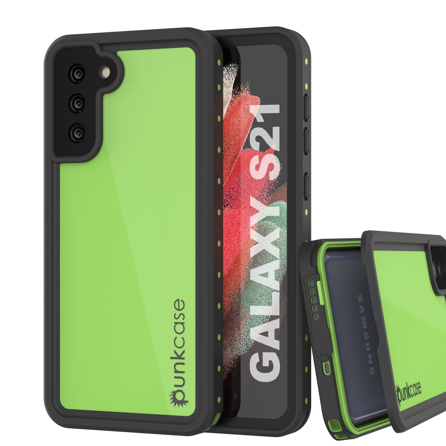 Galaxy S21 Waterproof Case PunkCase StudStar Light Green Thin 6.6ft Underwater IP68 ShockProof