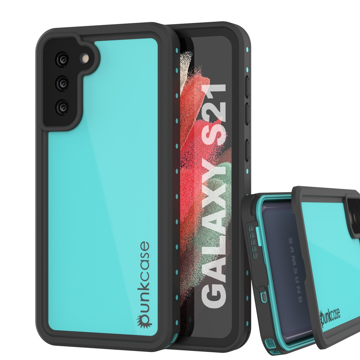 Galaxy S21 Waterproof Case PunkCase StudStar Teal Thin 6.6ft Underwater IP68 Shock/Snow Proof