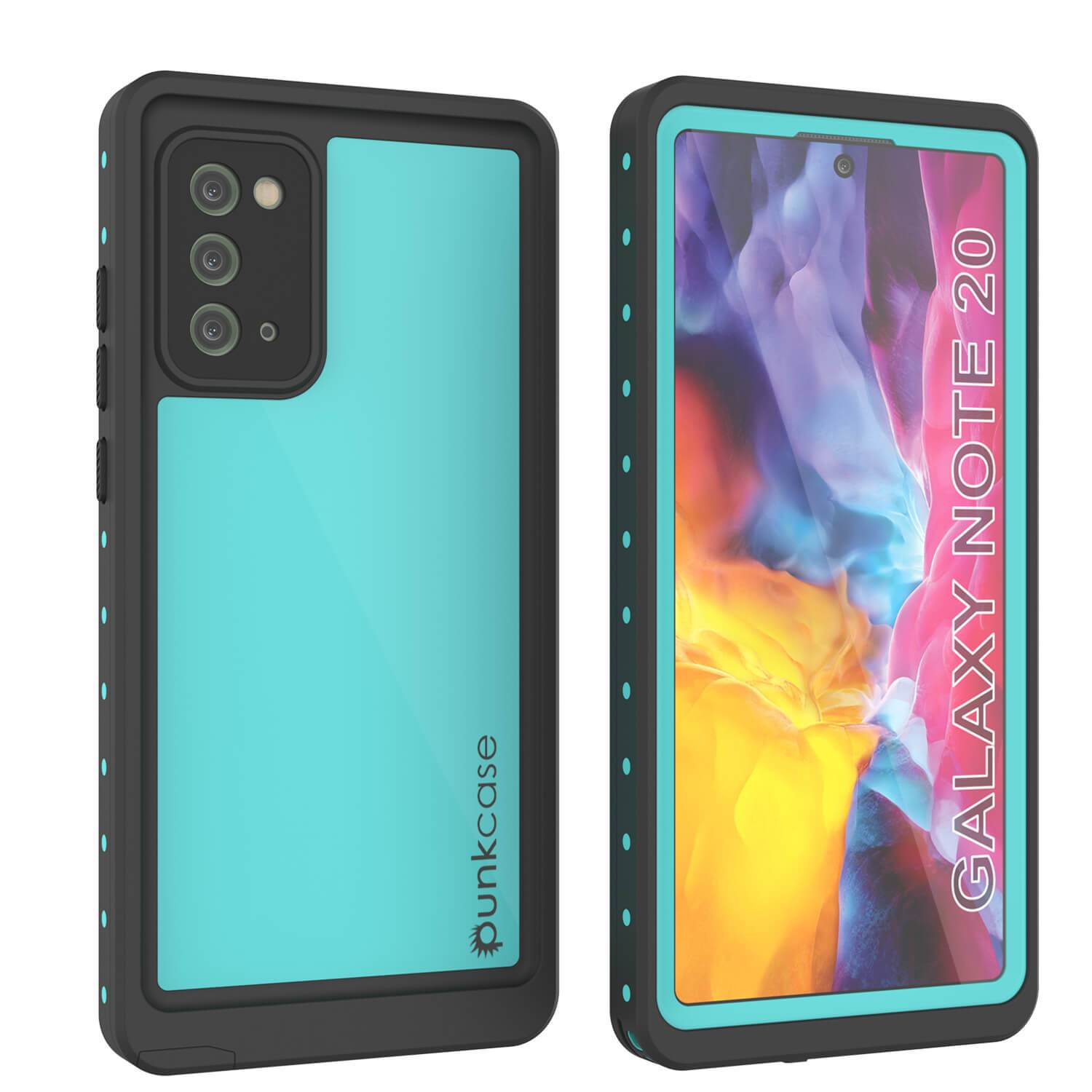 Galaxy Note 20 Waterproof Case, Punkcase Studstar Series Teal Thin Armor Cover