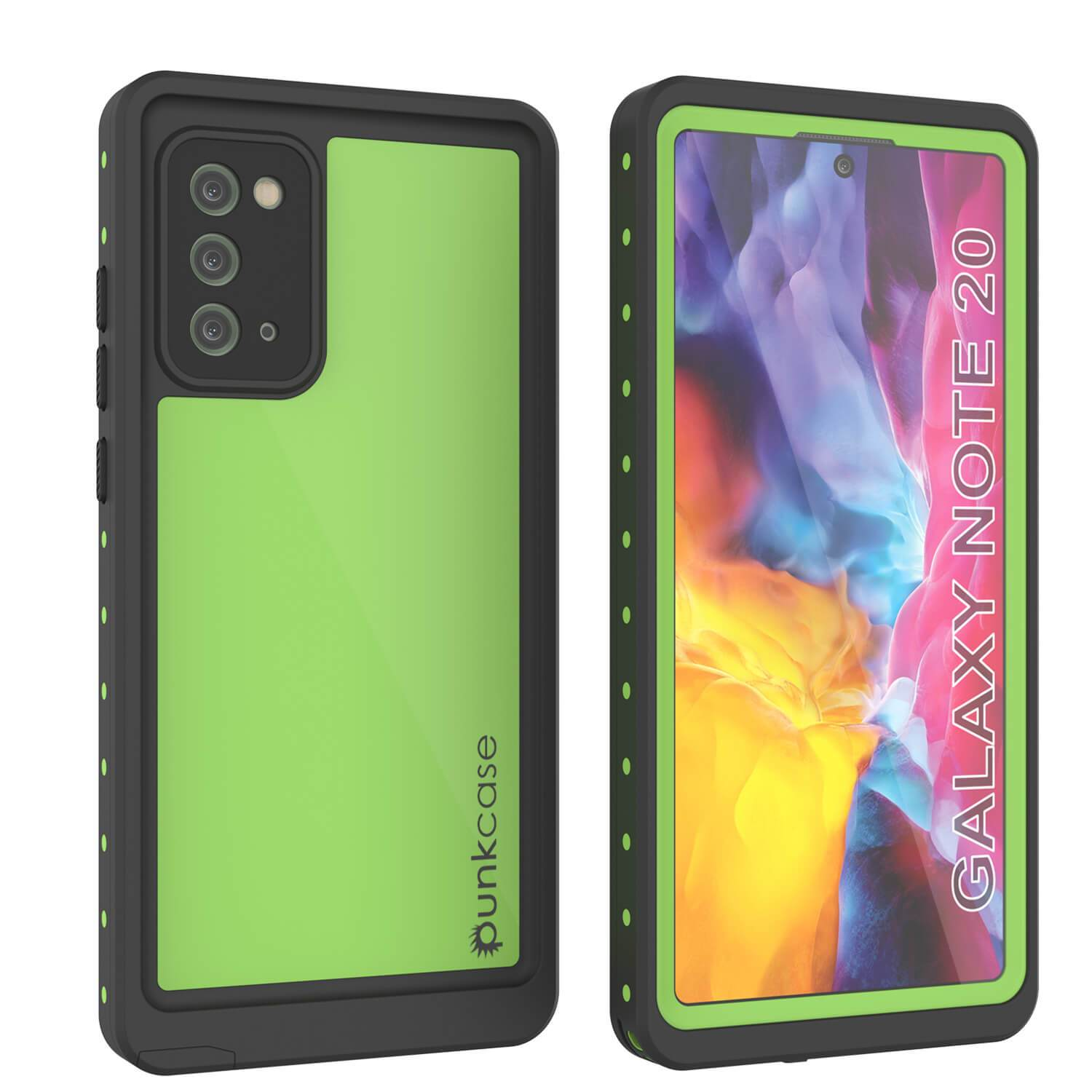 Galaxy Note 20 Waterproof Case, Punkcase Studstar Light Green Thin Armor Cover