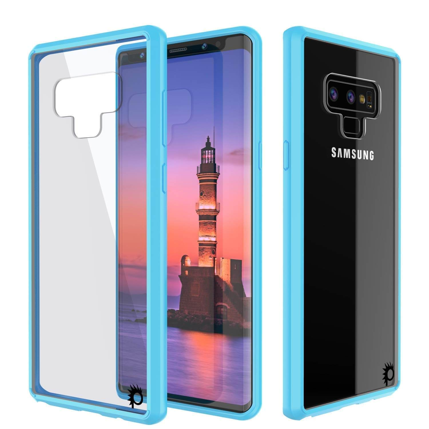 Galaxy Note 9 Case, PUNKcase [LUCID 2.0 Series] [Slim Fit] Armor Cover W/Integrated Anti-Shock System [Light Blue]