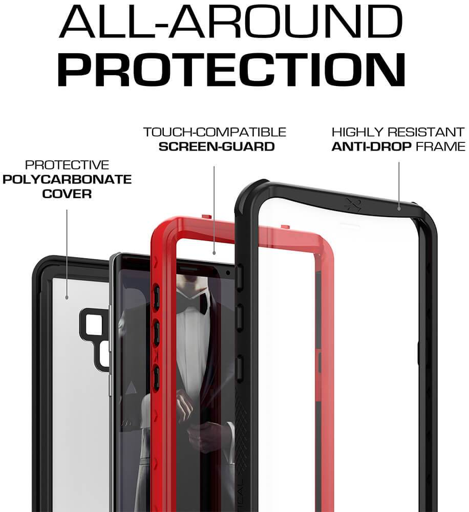 Galaxy Note 9, Ghostek Nautical Waterproof Case Full Body TPU Cover [Shockproof] | Black - PunkCase NZ
