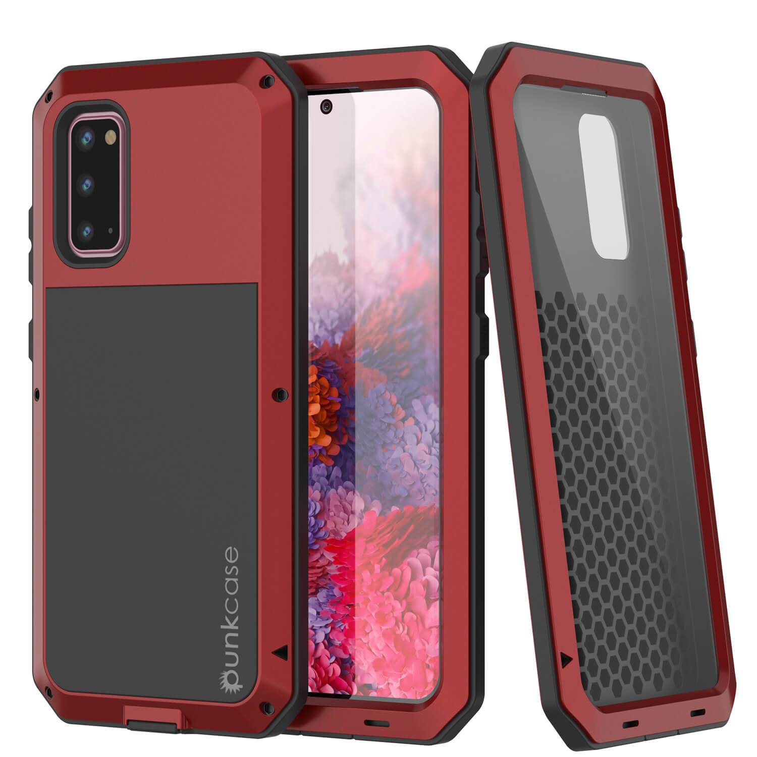 Galaxy s20 Metal Case, Heavy Duty Military Grade Rugged Armor Cover [Red]