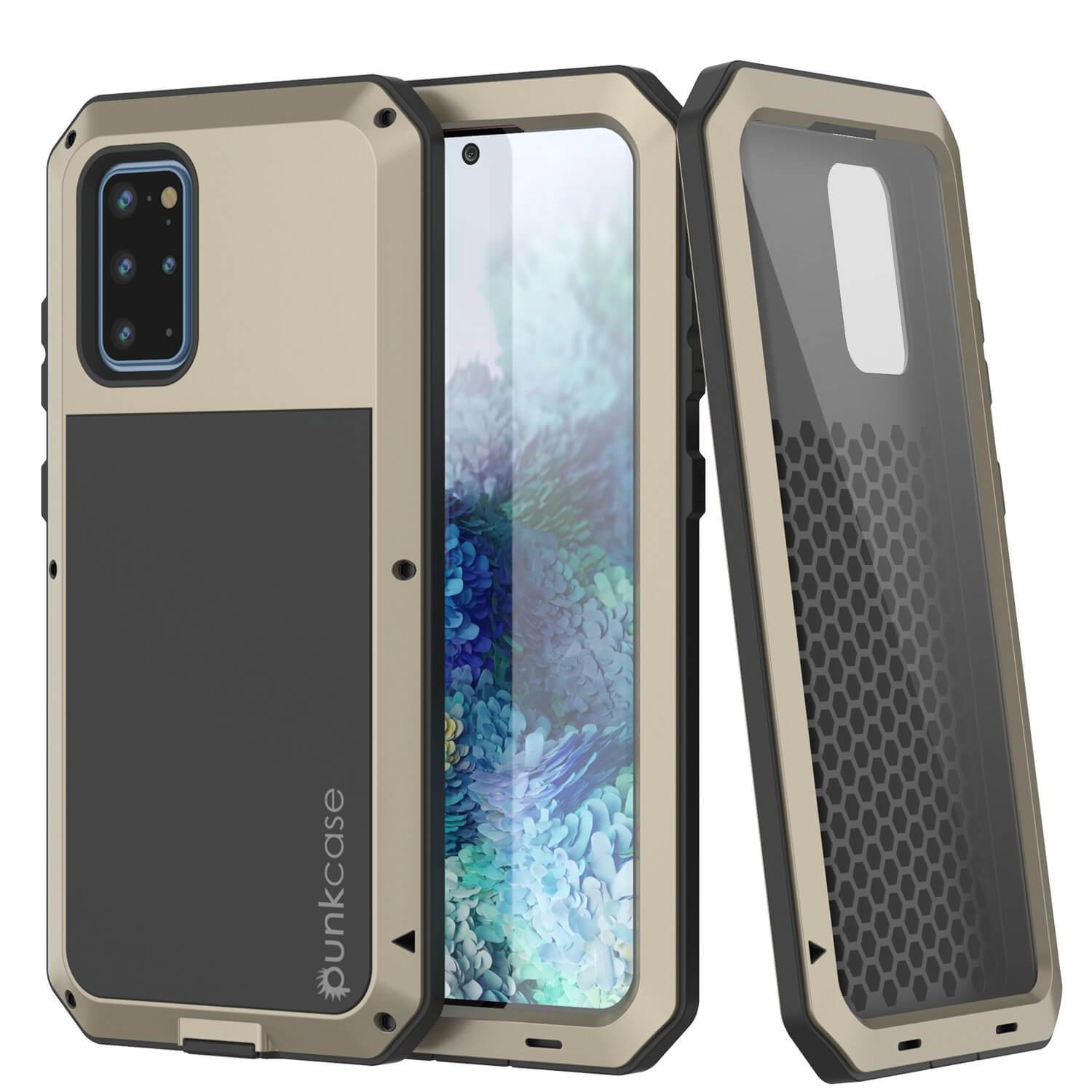 Galaxy s20+ Plus Metal Case, Heavy Duty Military Grade Rugged Armor Cover [Gold]