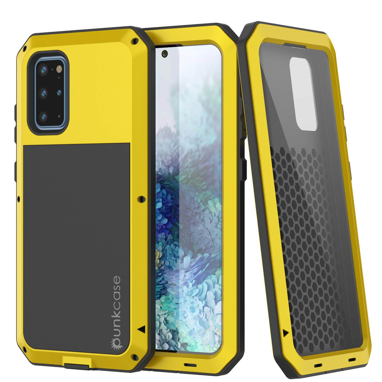 Galaxy s20+ Plus Metal Case, Heavy Duty Military Grade Rugged Armor Cover [Neon]