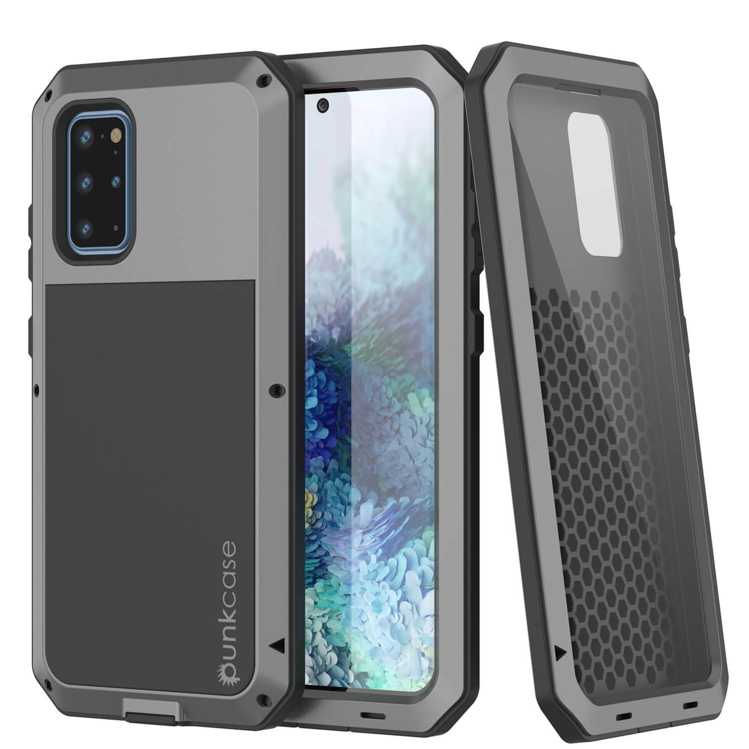 Galaxy s20+ Plus Metal Case, Heavy Duty Military Grade Rugged Armor Cover [Silver]