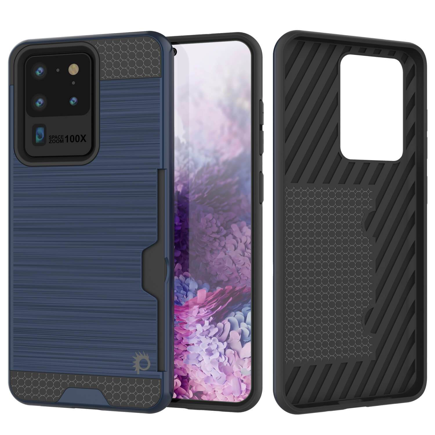 Galaxy S20 Ultra Case, PUNKcase [SLOT Series] [Slim Fit] Dual-Layer Armor Cover w/Integrated Anti-Shock System, Credit Card Slot [Navy]