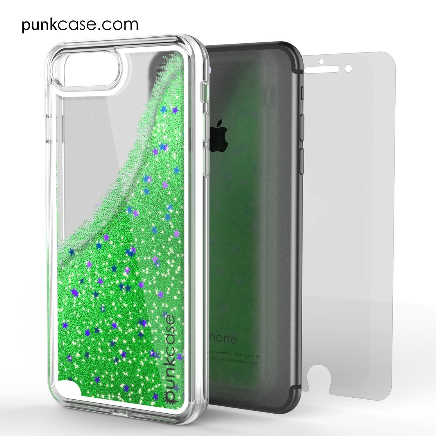 iPhone 8+ Plus Case, PunkCase LIQUID Green Series, Protective Dual Layer Floating Glitter Cover - PunkCase NZ