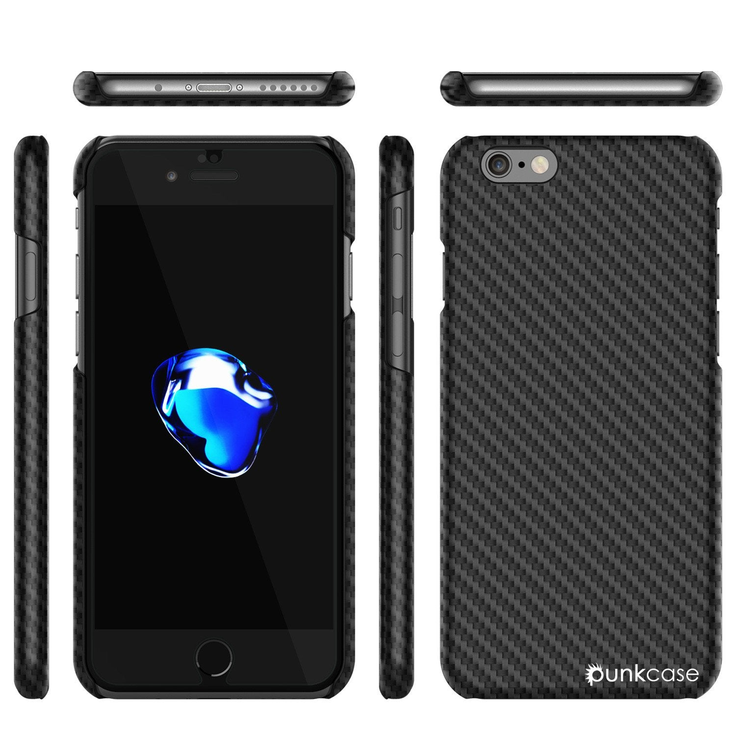 iPhone 7 Case, Punkcase CarbonShield Jet Black with 0.3mm Tempered Glass - PunkCase NZ