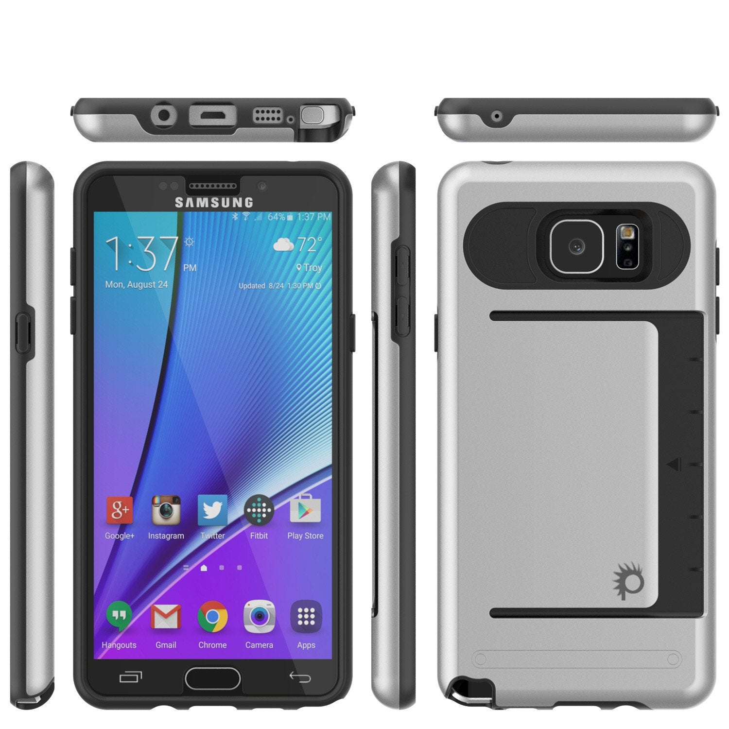 Galaxy Note 5 Case PunkCase CLUTCH Silver Series Slim Armor Soft Cover Case w/ Tempered Glass - PunkCase NZ