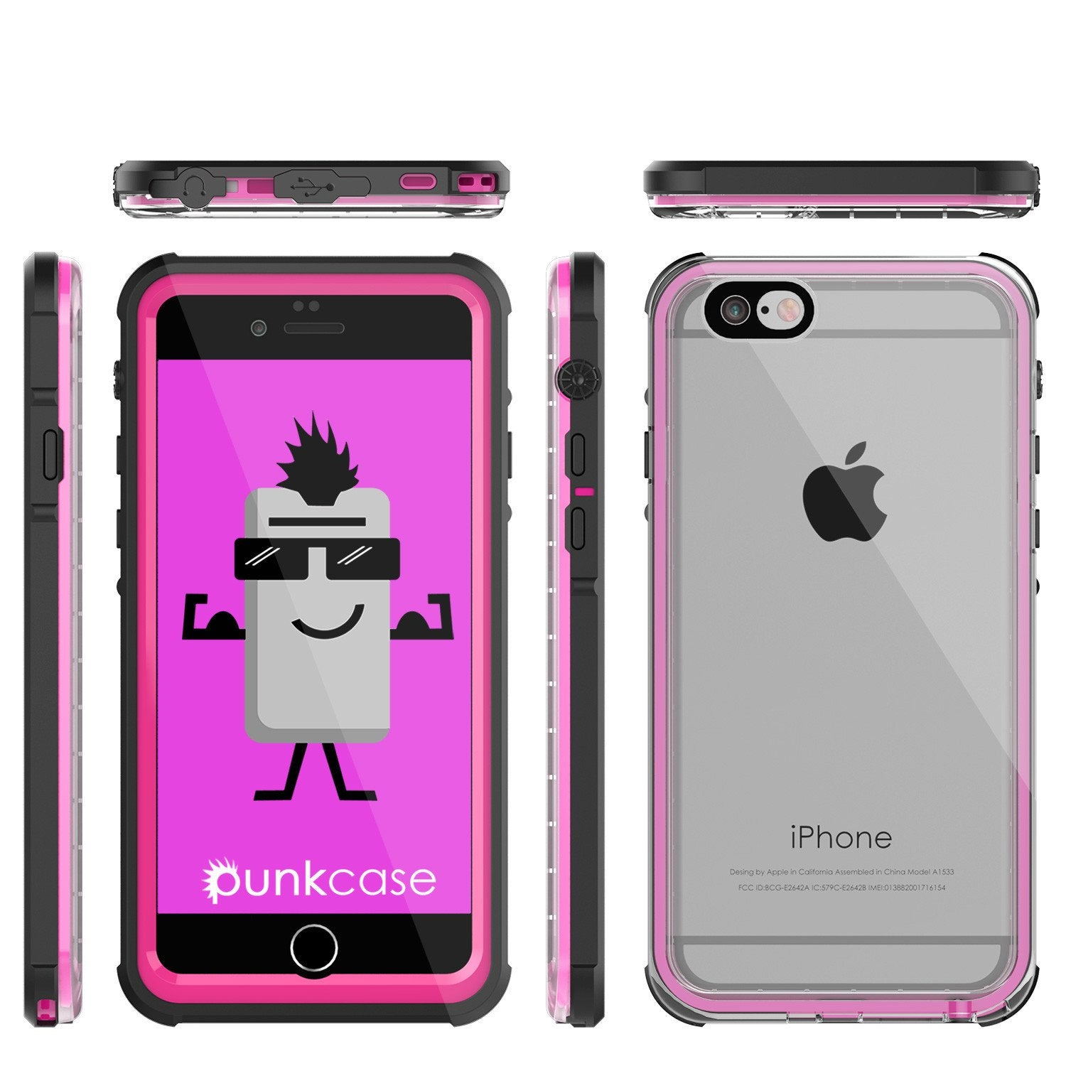 iPhone 6+/6S+ Plus Waterproof Case, PUNKcase CRYSTAL Pink W/ Attached Screen Protector | Warranty
