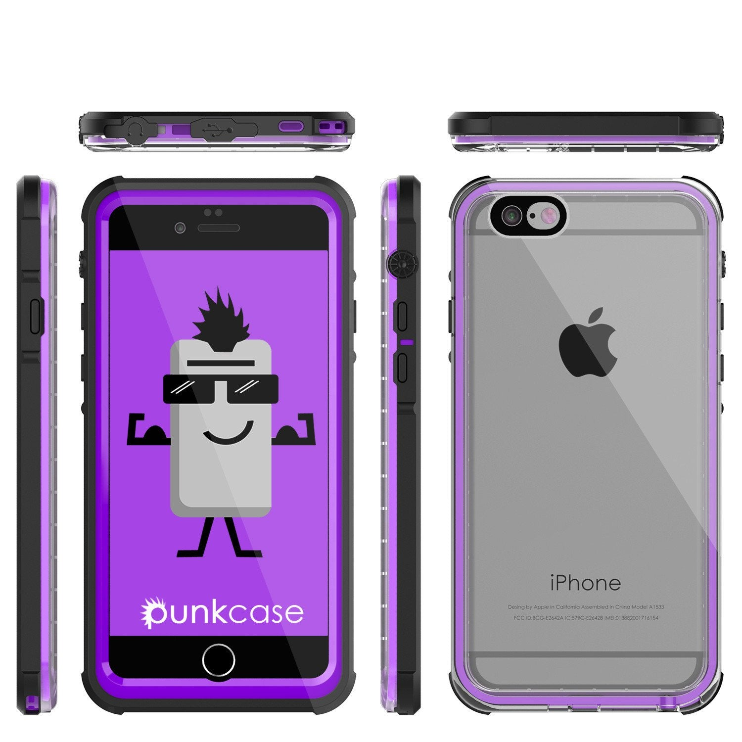 iPhone 6+/6S+ Plus Waterproof Case, PUNKcase CRYSTAL Purple W/ Attached Screen Protector | Warranty