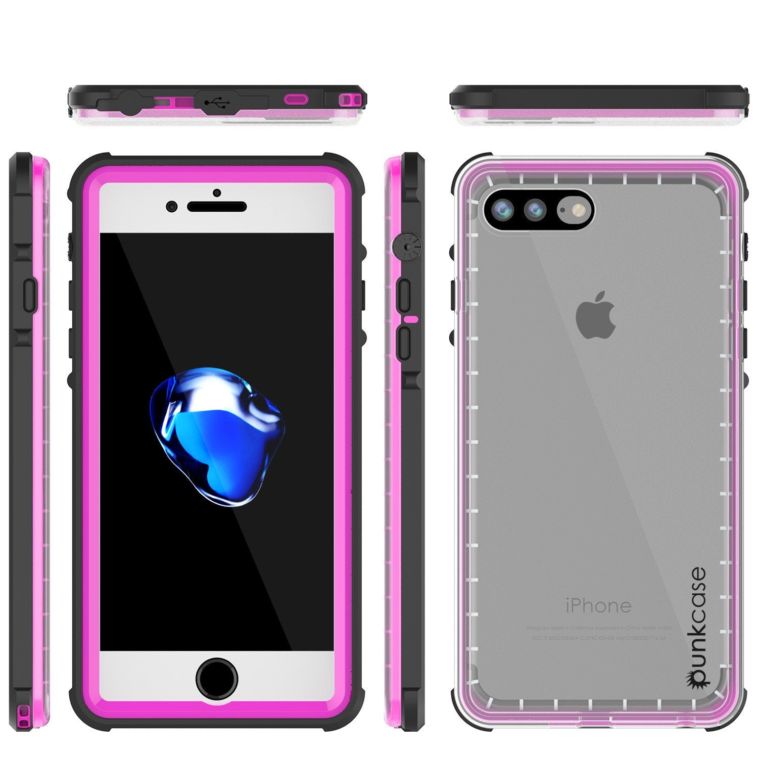 iPhone 7+ Plus Waterproof Case, PUNKcase CRYSTAL Pink W/ Attached Screen Protector  | Warranty - PunkCase NZ