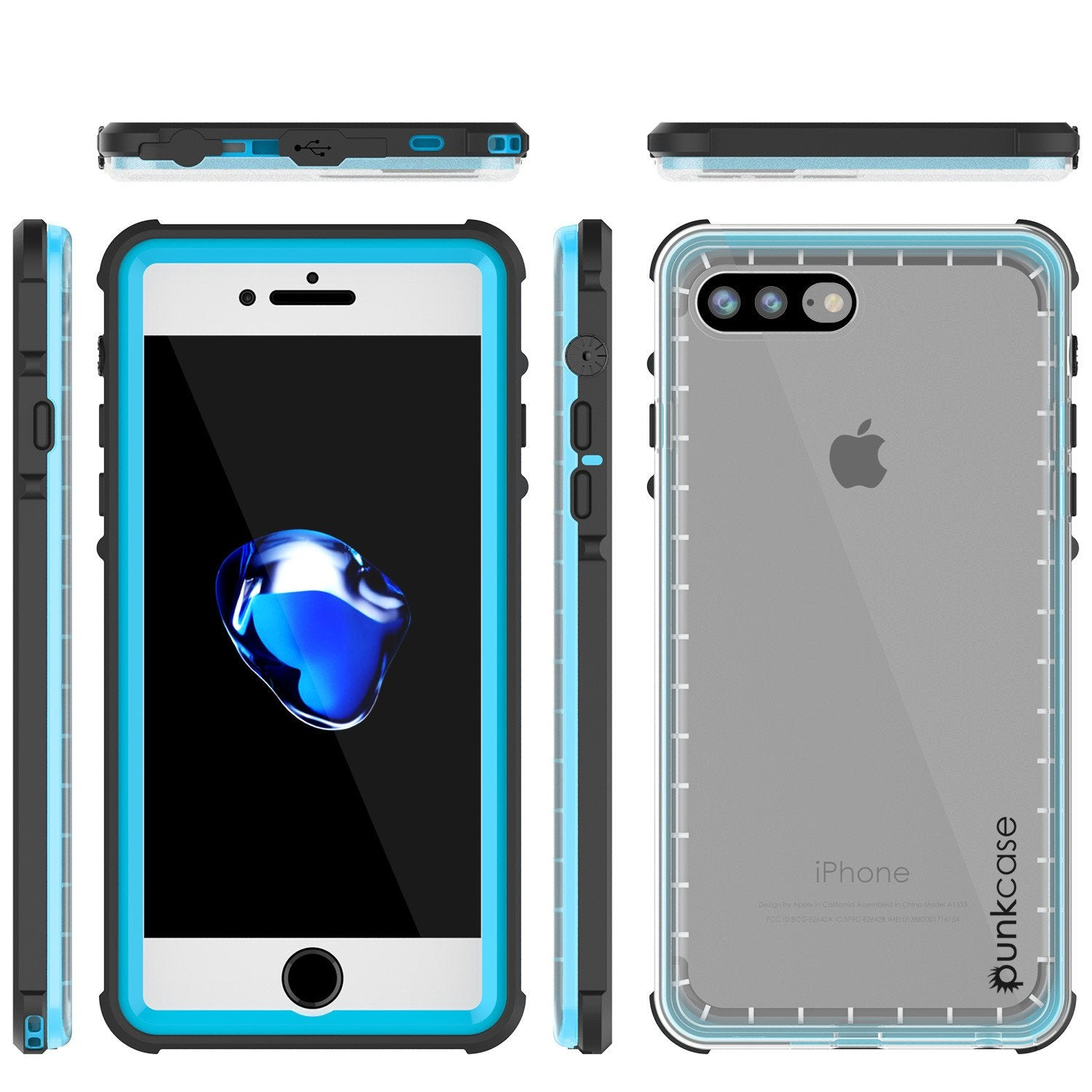iPhone 7+ Plus Waterproof Case, PUNKcase CRYSTAL Light Blue  W/ Attached Screen Protector  | Warranty - PunkCase NZ