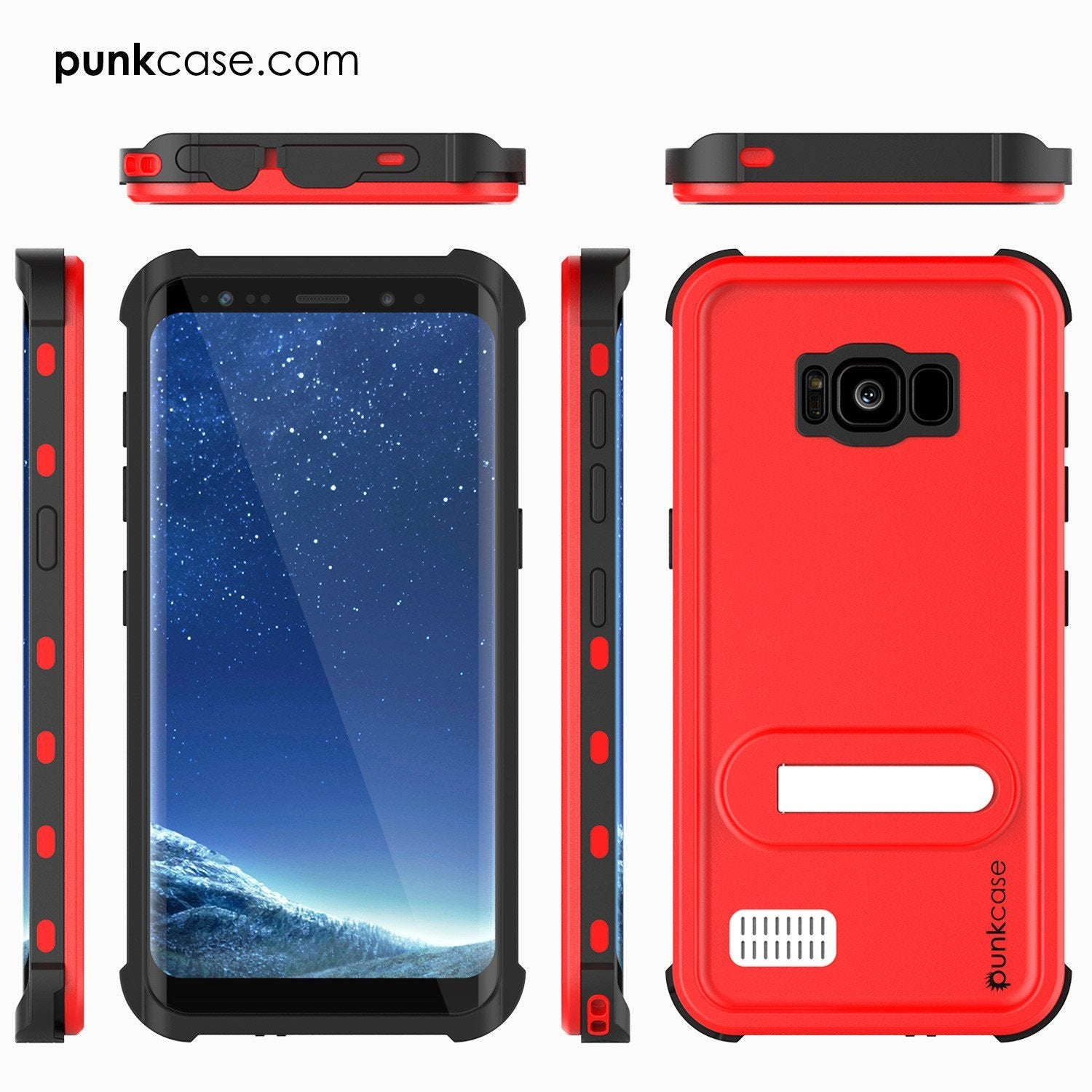 Protector [PURPLE]Galaxy S8 Waterproof Case, Punkcase [KickStud Series] [Slim Fit] [IP68 Certified] [Shockproof] [Snowproof] Armor Cover [Red] - PunkCase NZ