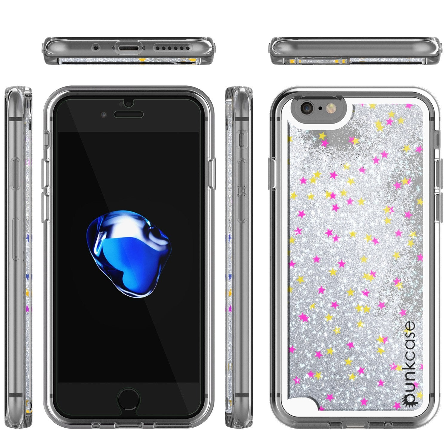 iPhone 7 Case, PunkCase LIQUID Silver Series, Protective Dual Layer Floating Glitter Cover - PunkCase NZ