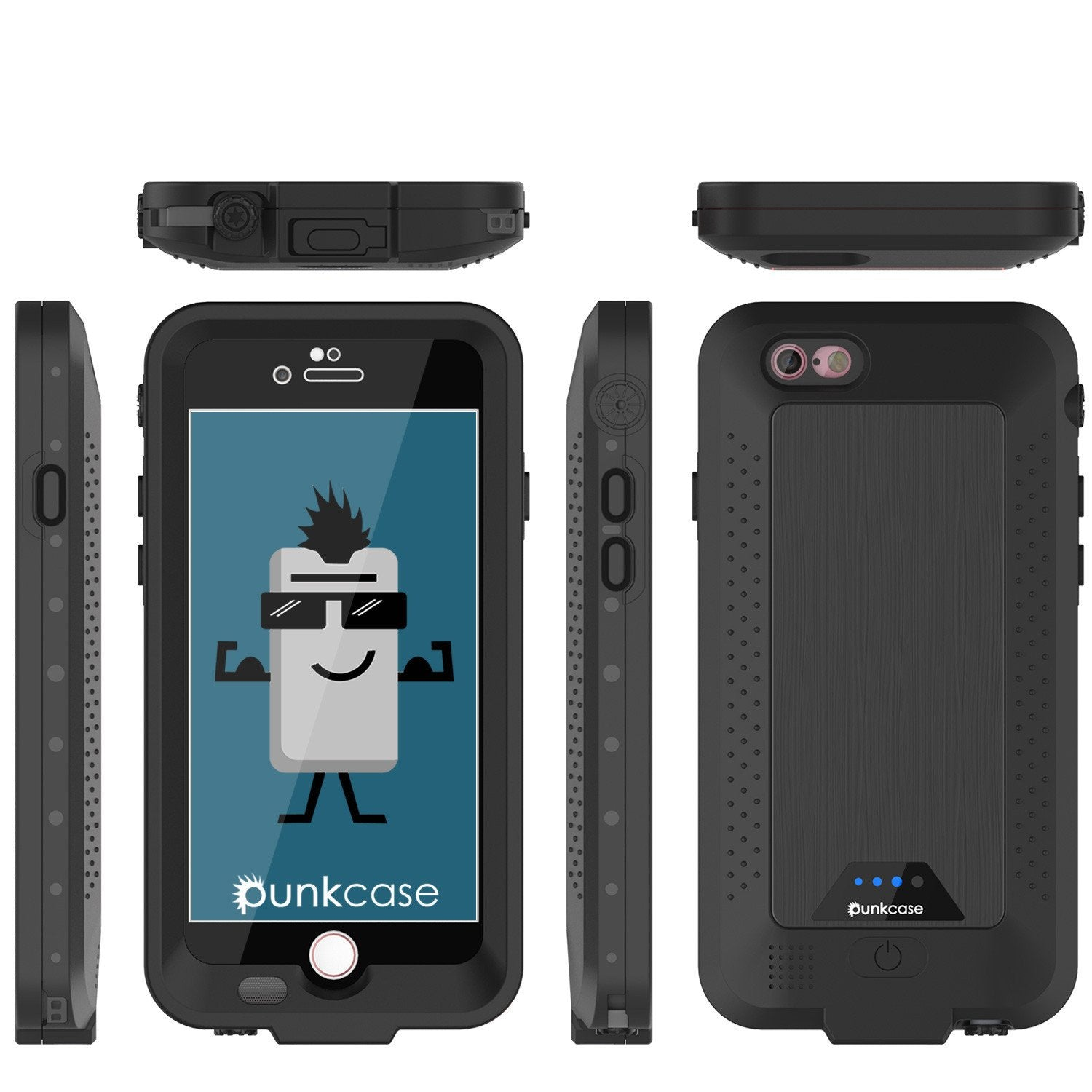 PunkJuice iPhone 6+ Plus/6s+ Plus Battery Case Black - Waterproof Slim Power Juice Bank with 4300mAh - PunkCase NZ