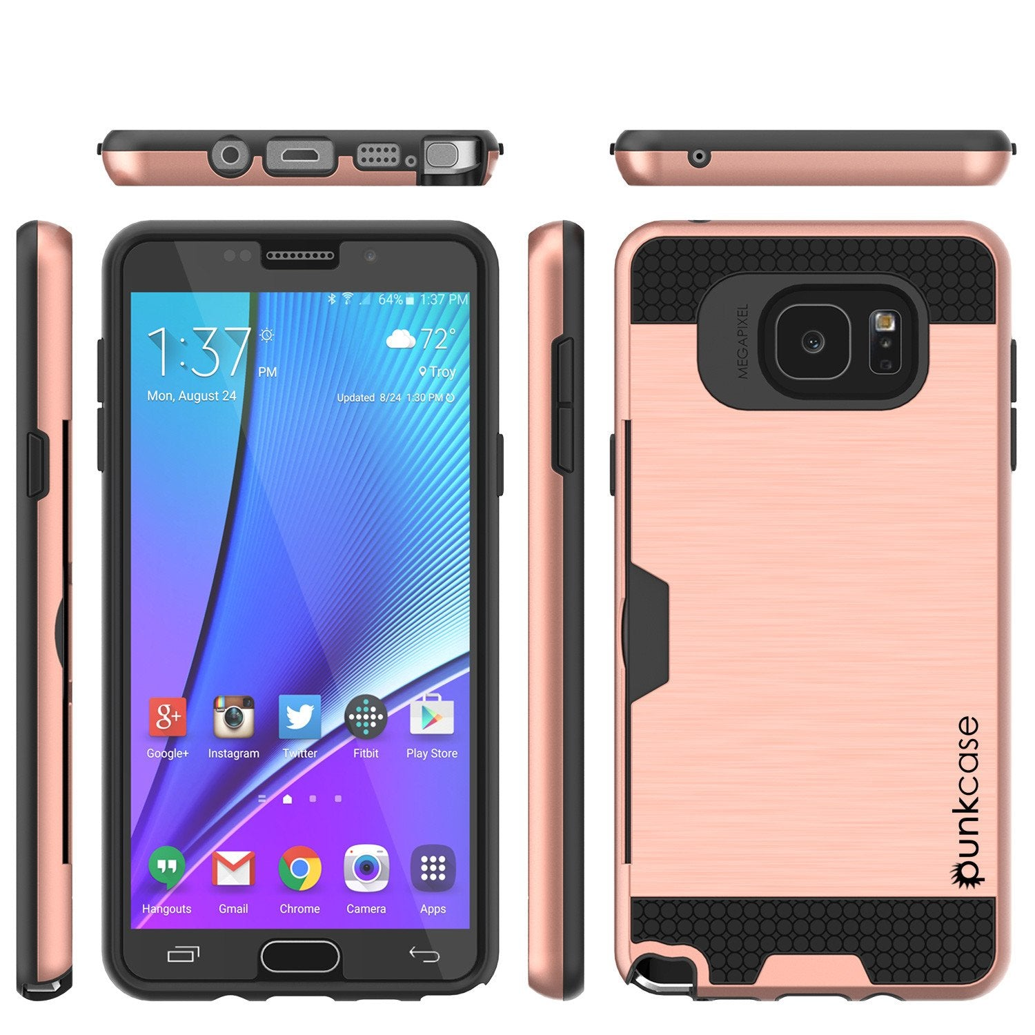 Galaxy Note 5 Case PunkCase SLOT Rose Series Slim Armor Soft Cover Case w/ Tempered Glass - PunkCase NZ