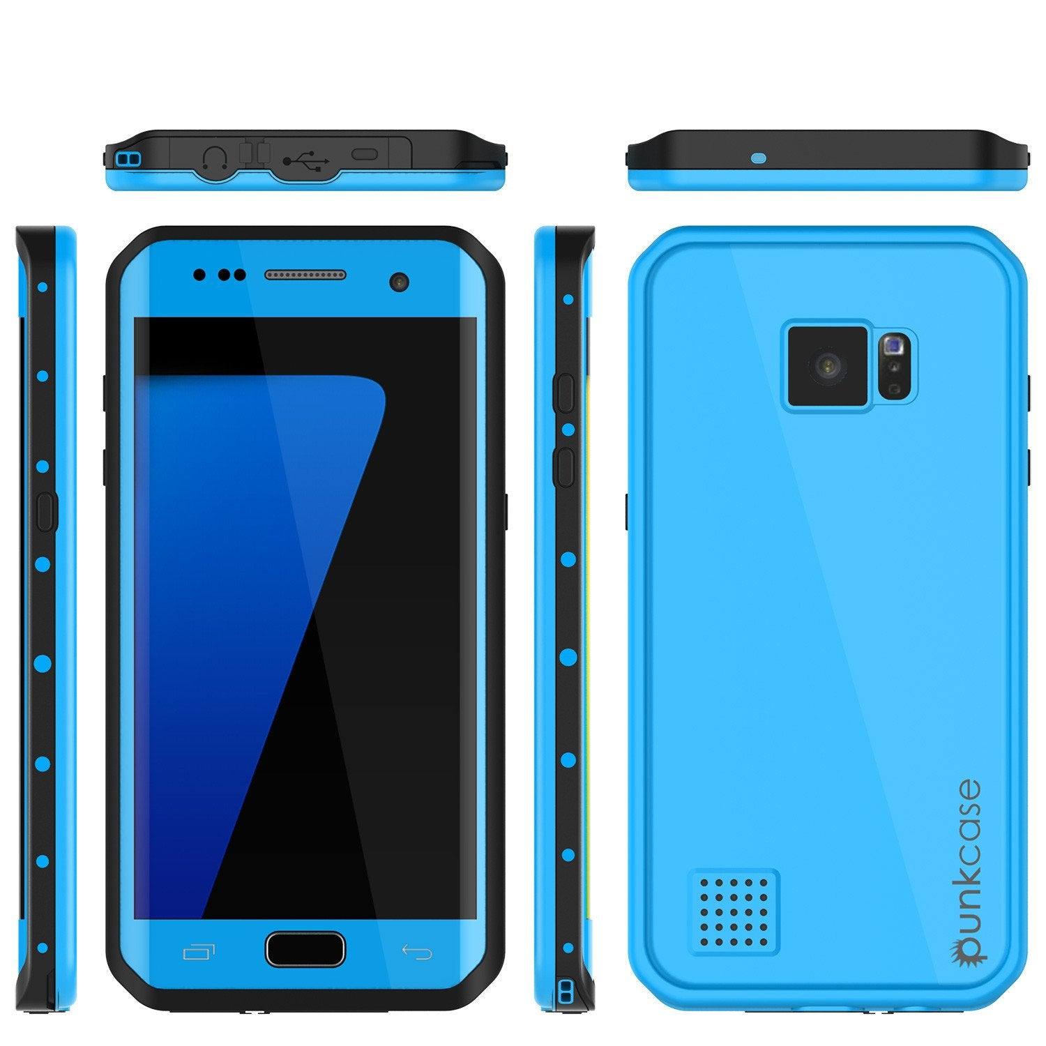 Galaxy S7 EDGE Waterproof Case PunkCase StudStar Light Blue Thin 6.6ft Underwater IP68 ShockProof - PunkCase NZ