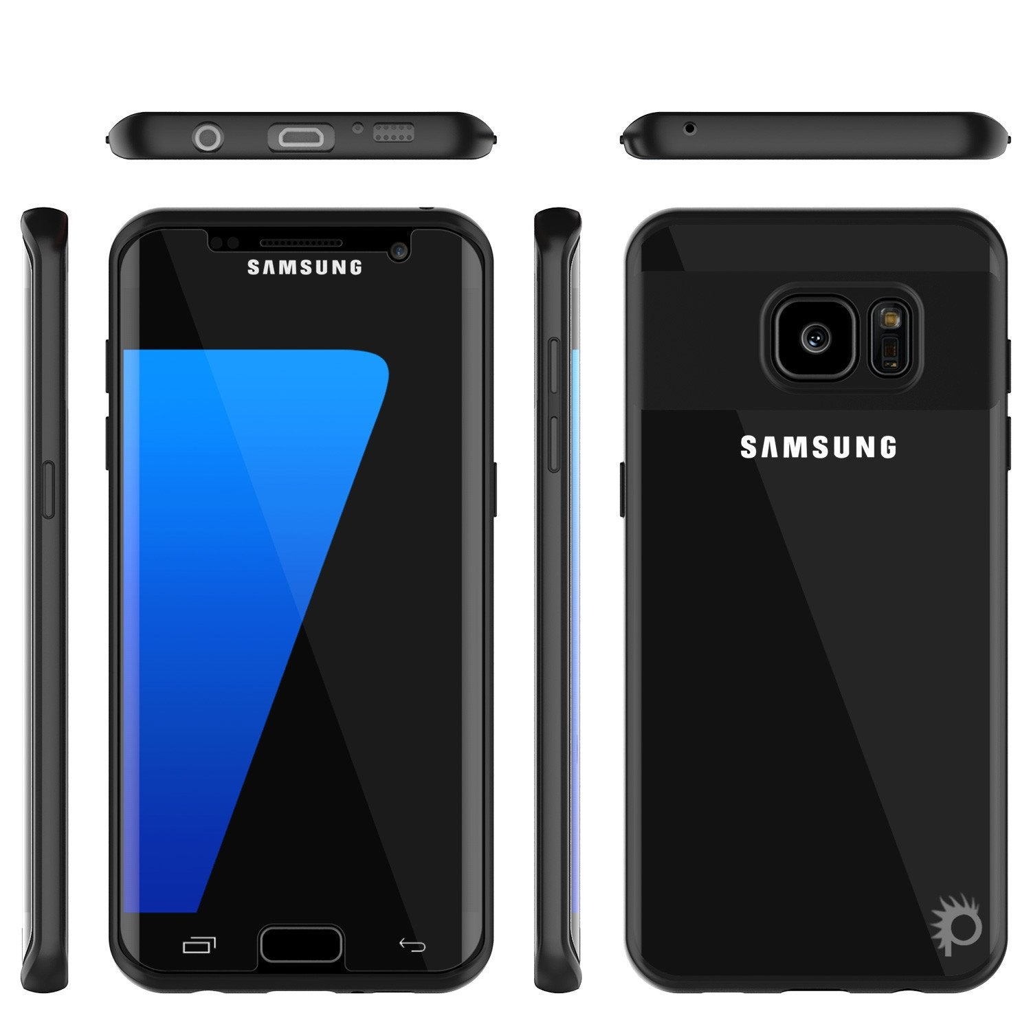 Galaxy S7 Edge Case [MASK Series] [BLACK] Full Body Hybrid Dual Layer TPU Cover W/ Protective PUNKSHIELD Screen Protector - PunkCase NZ