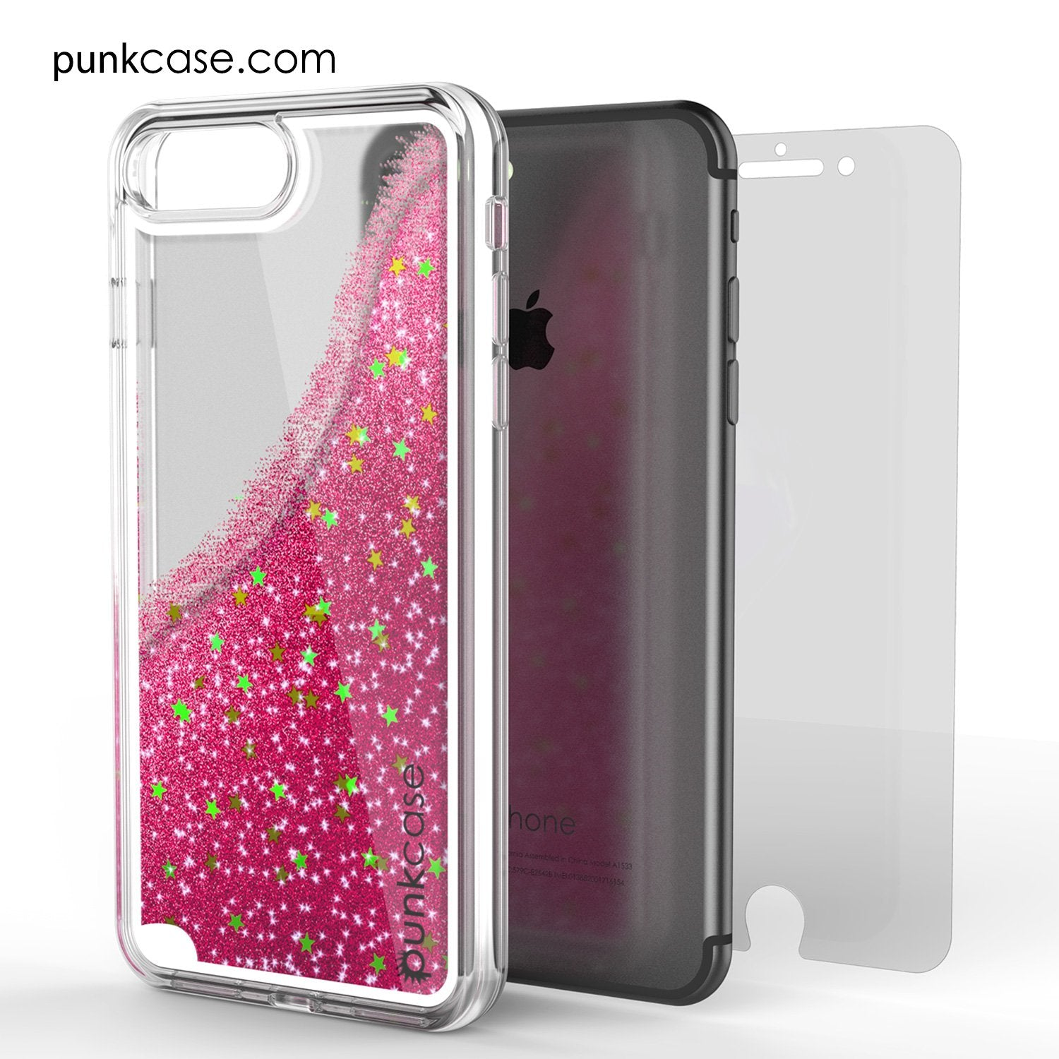 iPhone 7+Plus Case, PunkCase LIQUID Pink Series, Protective Dual Layer Floating Glitter Cover - PunkCase NZ