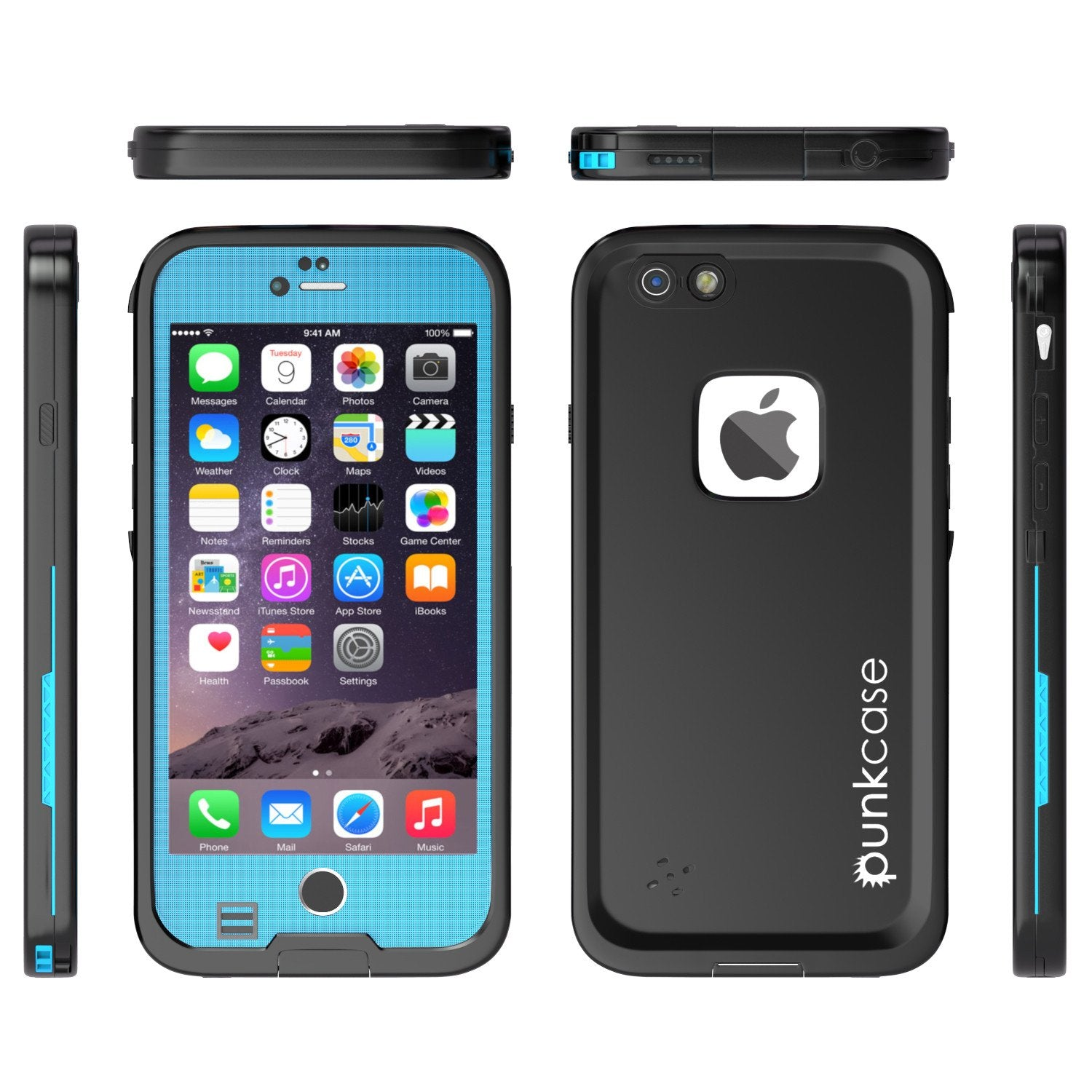 iPhone 6S+/6+ Plus Waterproof Case, Punkcase SpikeStar Light Blue | Thin Fit 6.6ft Underwater IP68 - PunkCase NZ