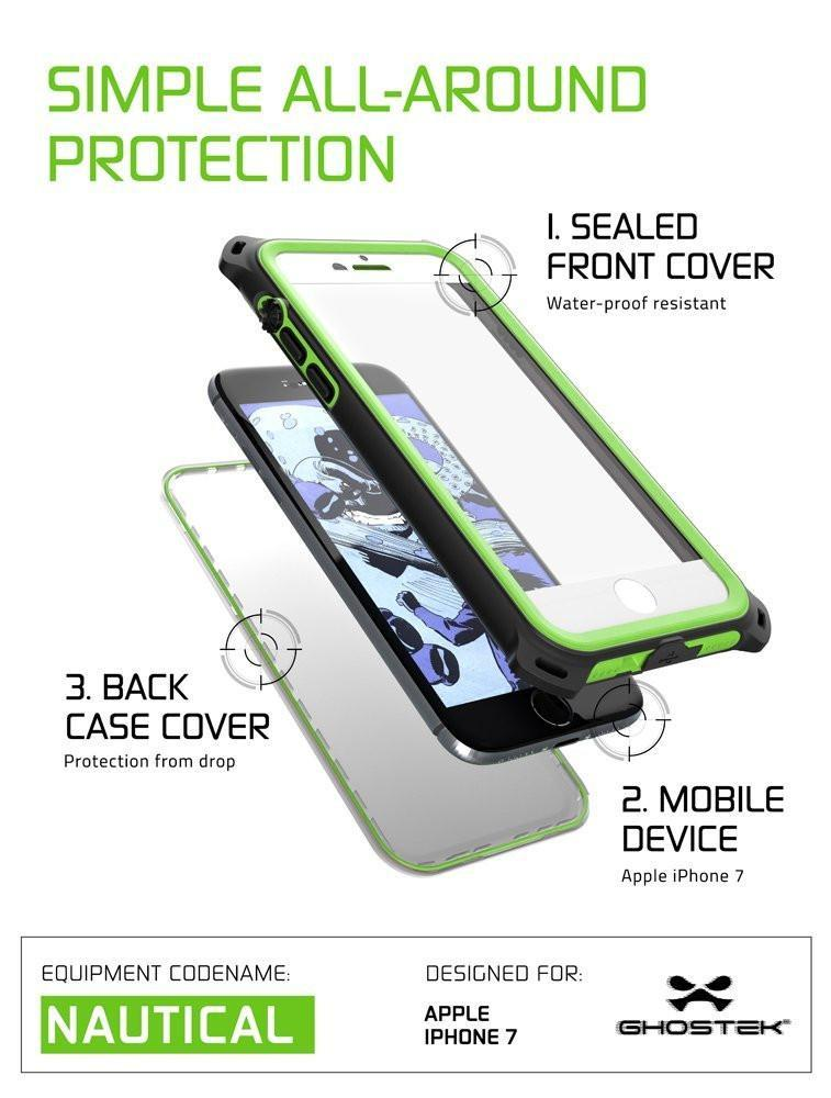 iPhone  8  Waterproof Case, Ghostek Nautical Series for iPhone  8  | Slim Underwater Protection| Adventure Duty | Ultra Fit | Swimming (Green) - PunkCase NZ