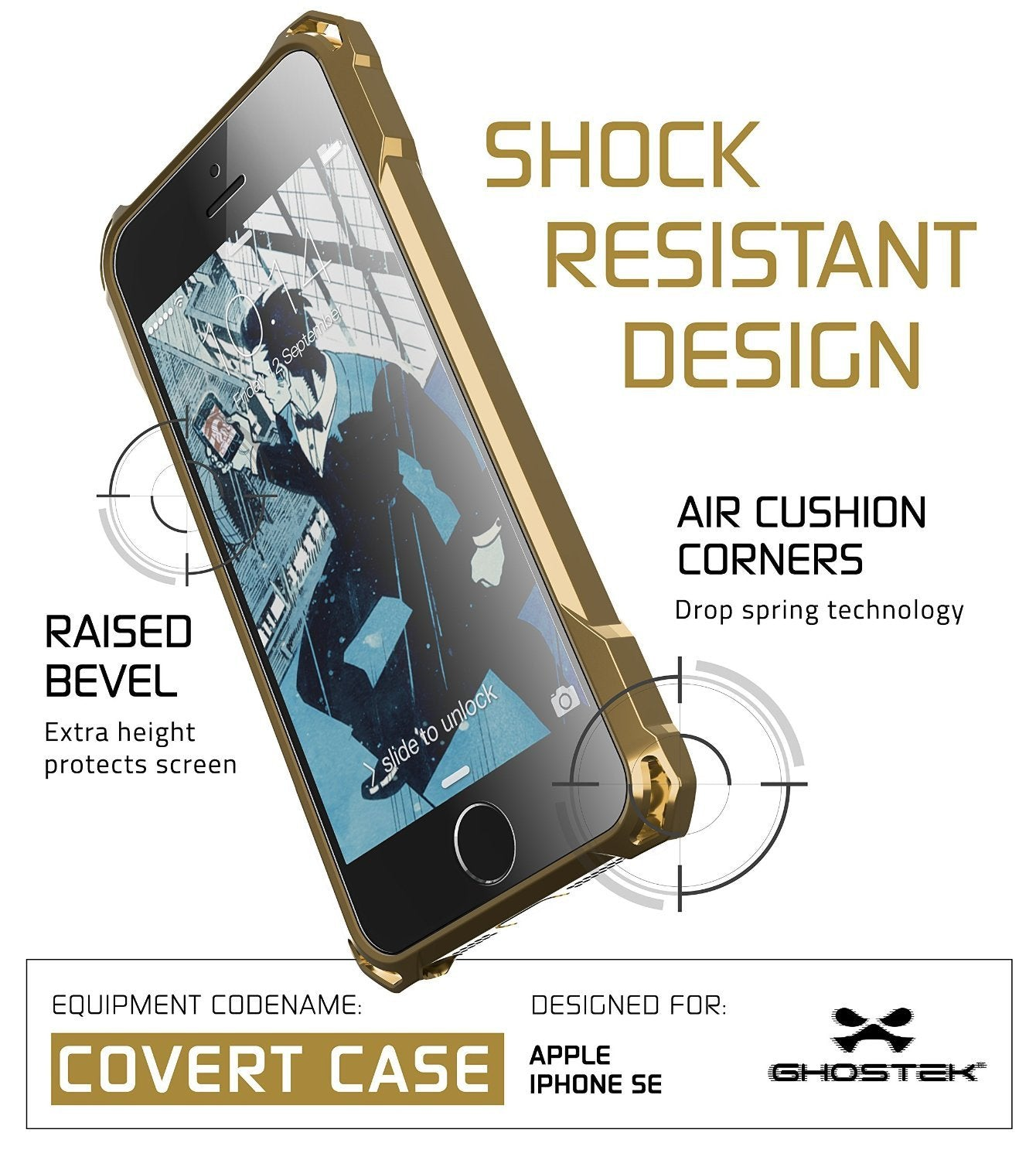 iPhone SE Case, Ghostek® Covert Gold, Premium Impact Protective Armor | Lifetime Warranty Exchange - PunkCase NZ