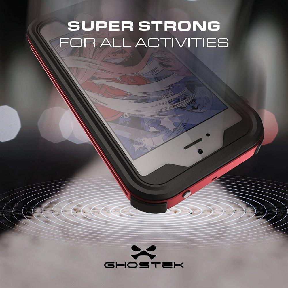 iPhone SE/5S/5 Waterproof Case, Ghostek® Atomic 3.0 Red Series | Underwater | Touch-ID - PunkCase NZ